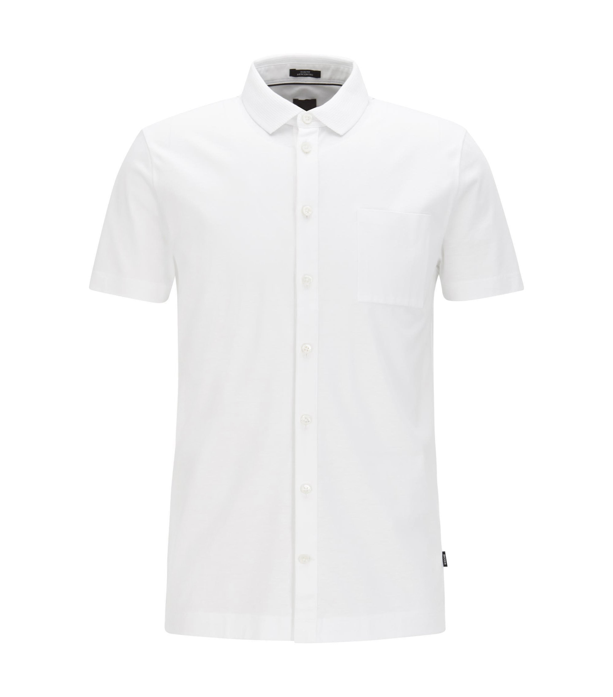 Slim-fit polo shirt in mercerised cotton, White