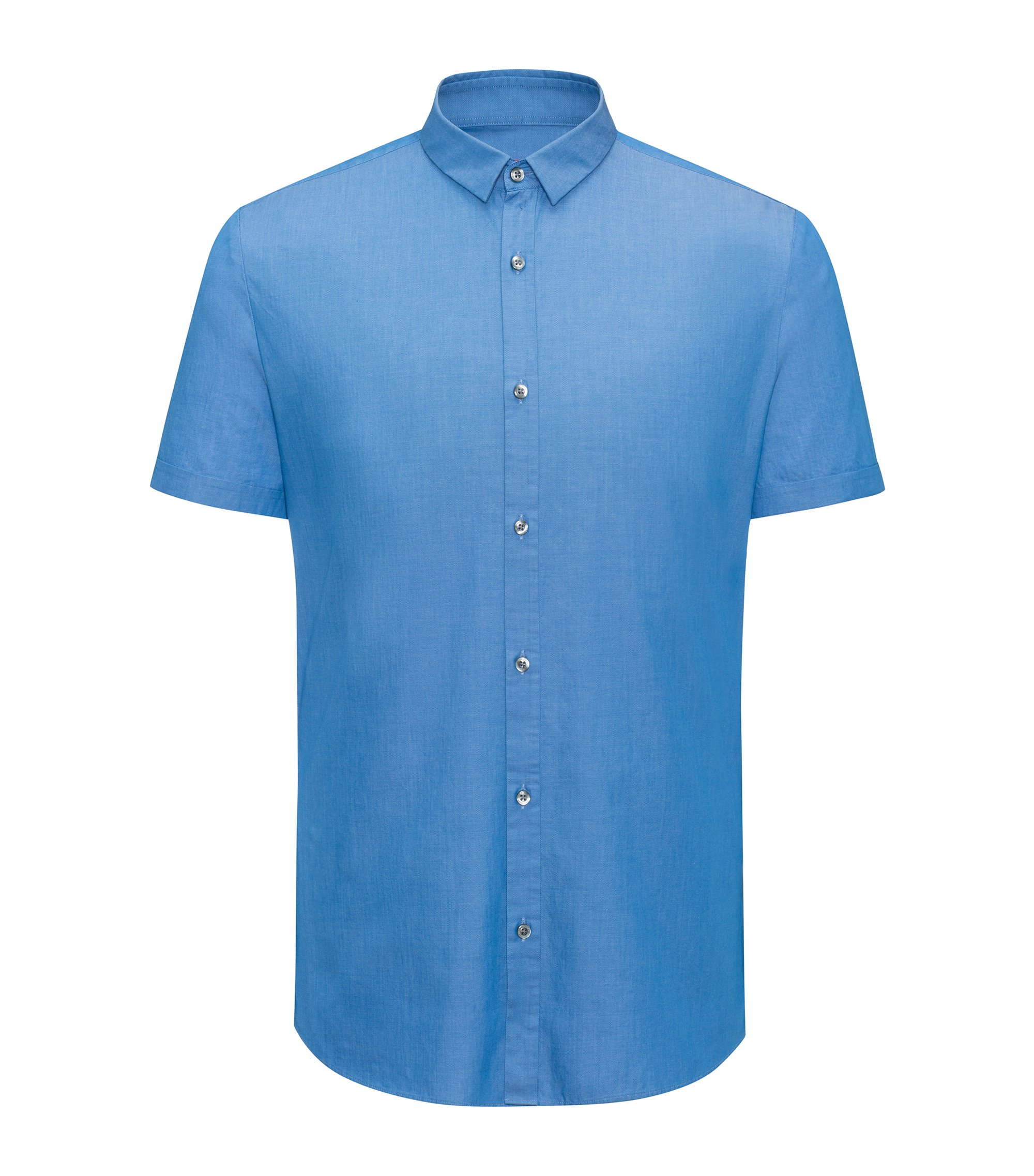 Extra-slim-fit shirt in patterned cotton, Blue