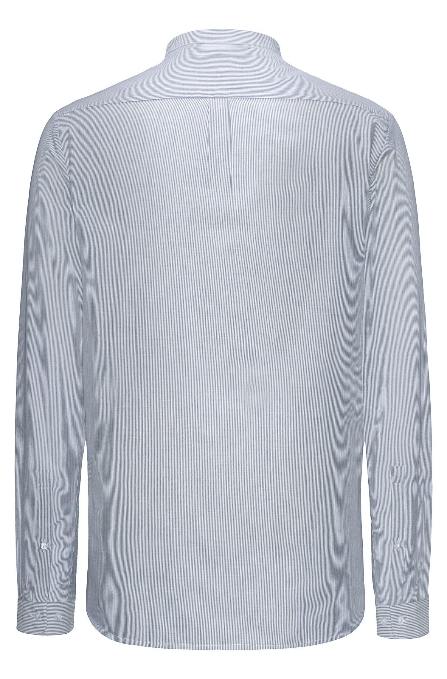 Gestreept overhemd van katoen met opstaande kraag