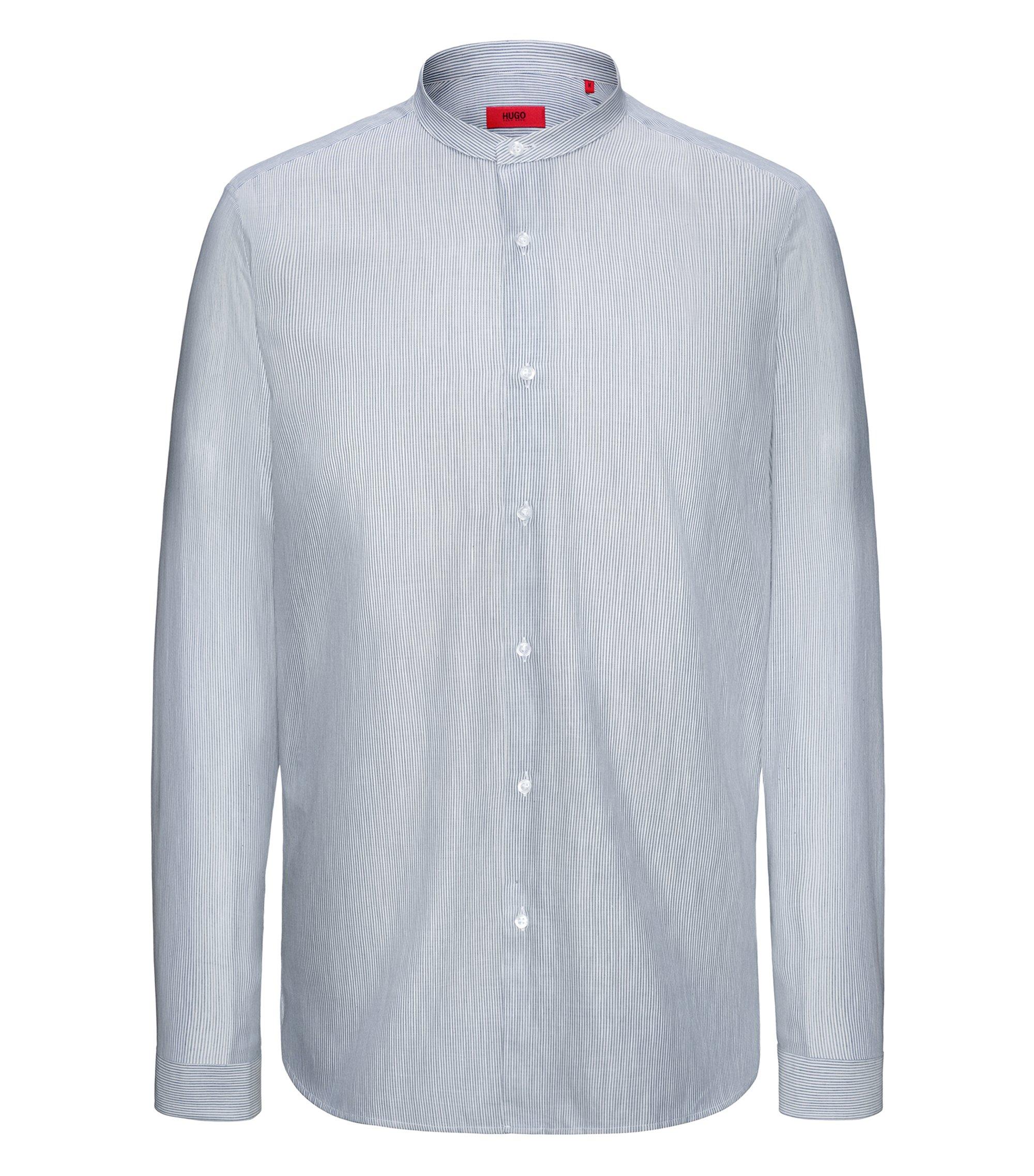 Relaxed-Fit Hemd aus Baumwolle mit Stehkragen und Streifen-Muster, Dunkelblau