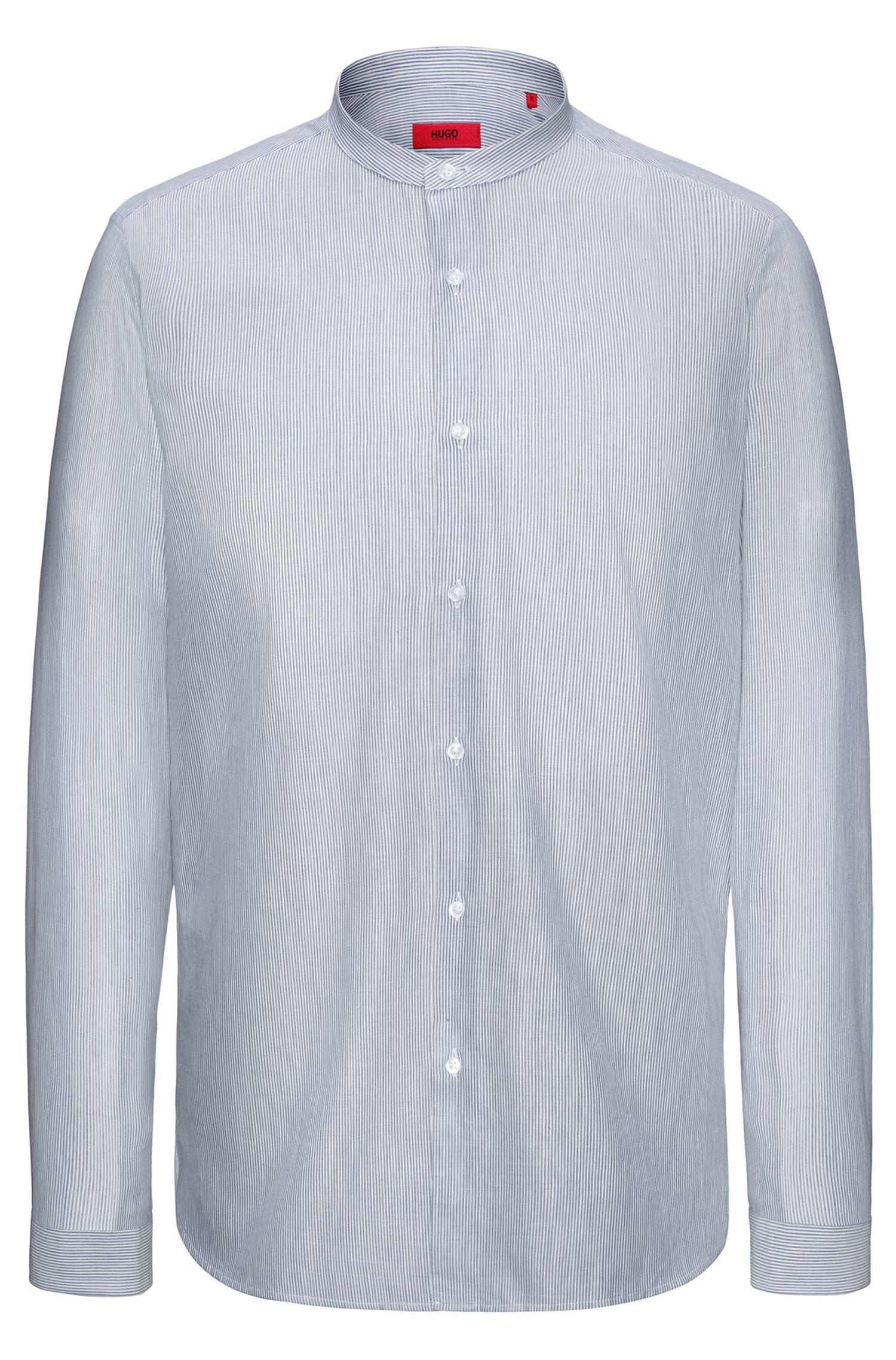 Chemise en coton à rayures et col mao