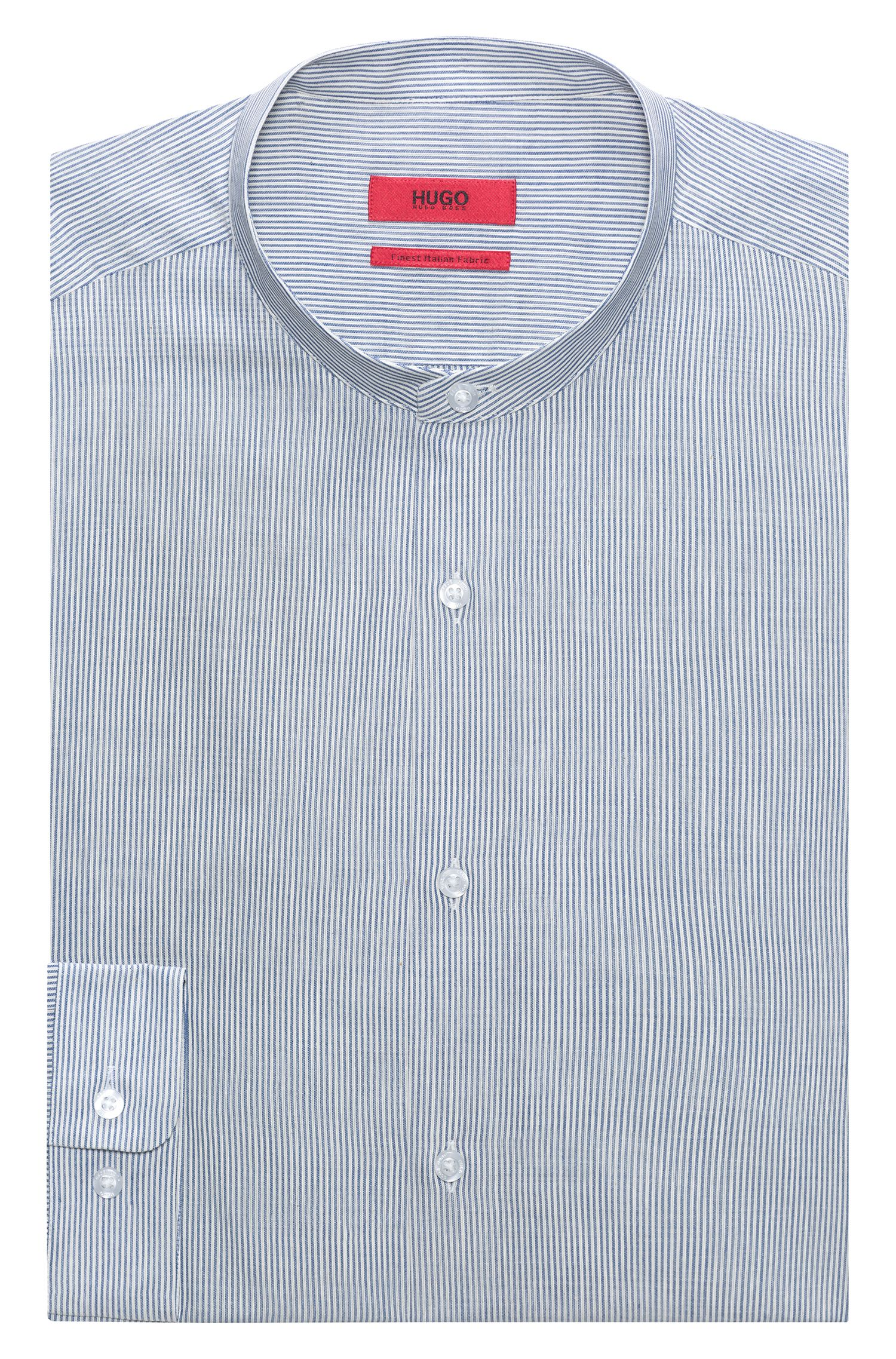 Striped cotton shirt with stand collar