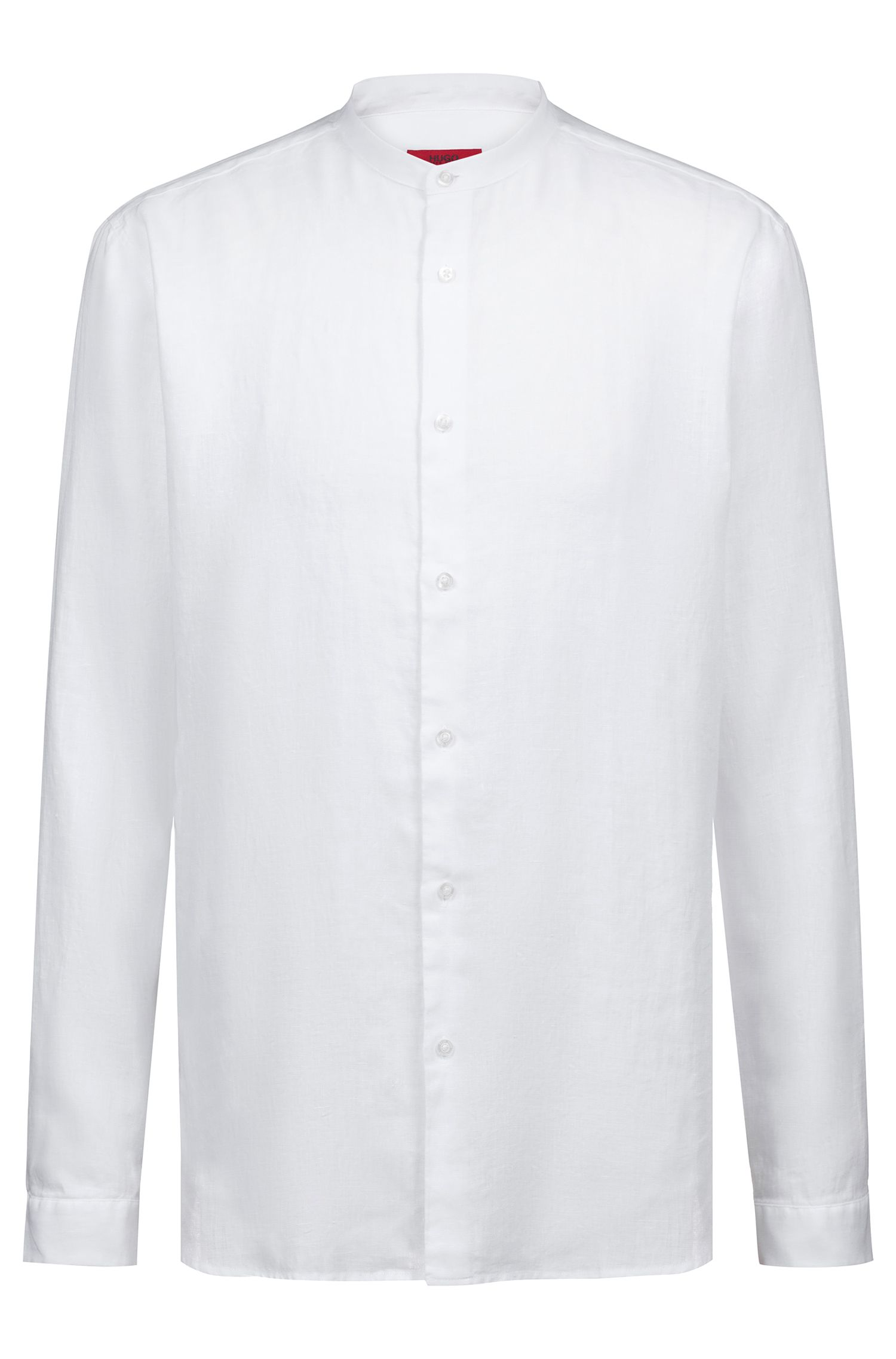 Linen shirt with stand collar, White