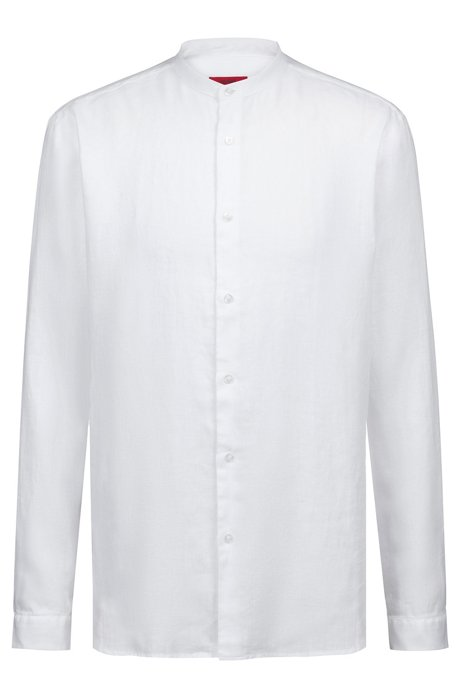 be1246f85 HUGO - Linen shirt with stand collar