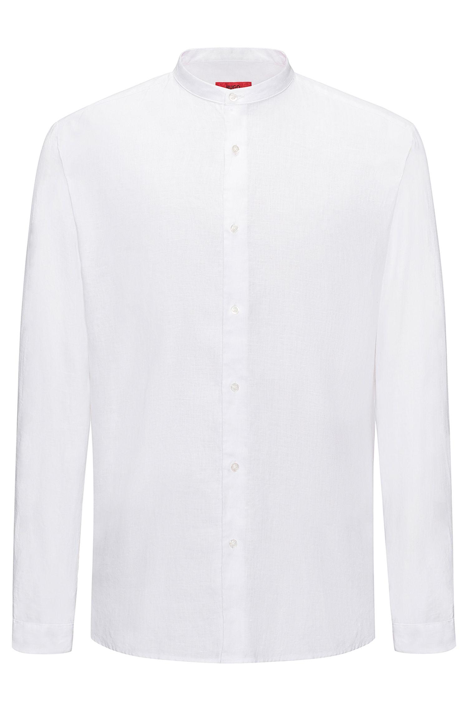 Camicia in lino con colletto rialzato