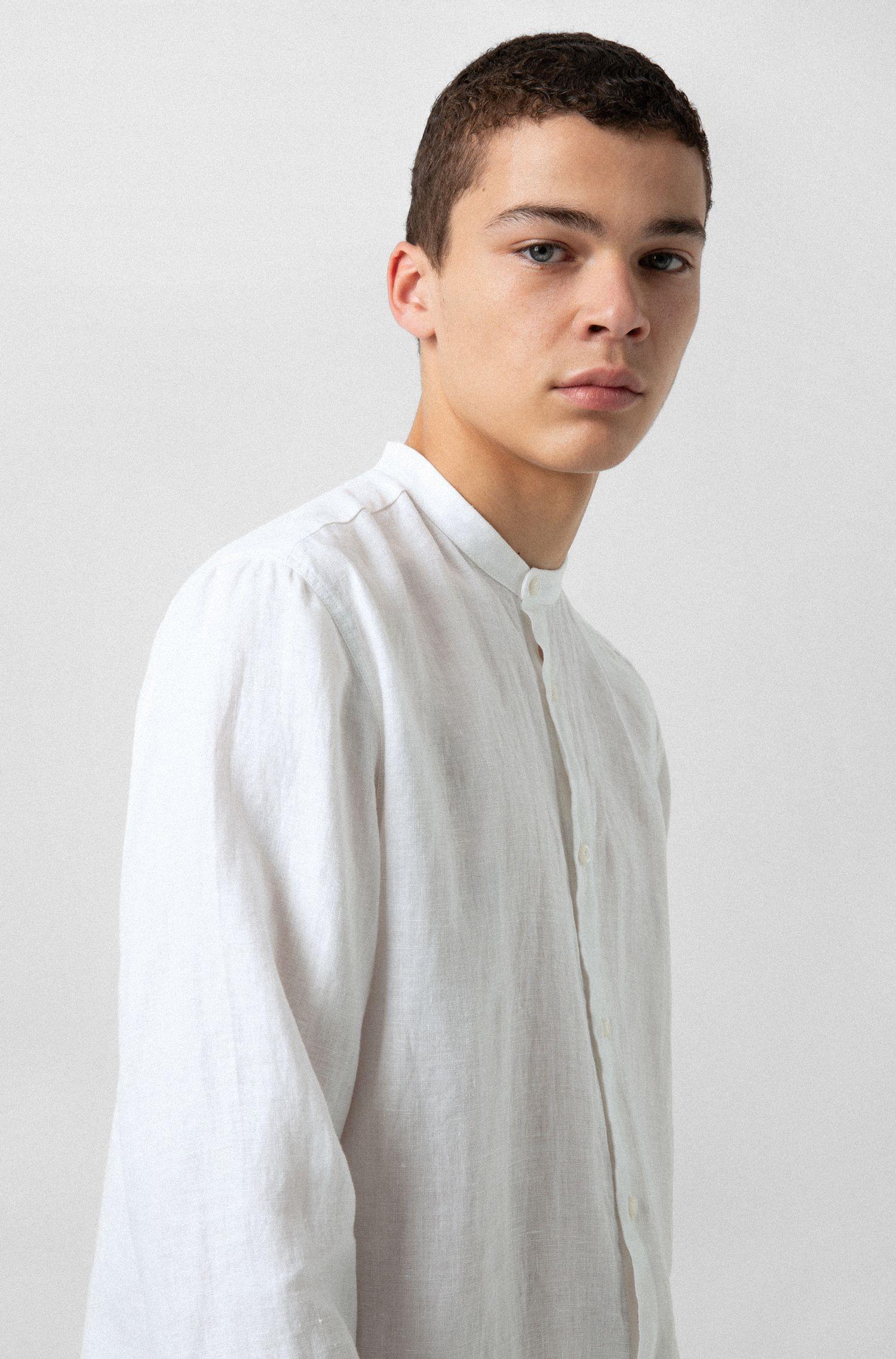 Overhemd van linnen met opstaande kraag, Wit