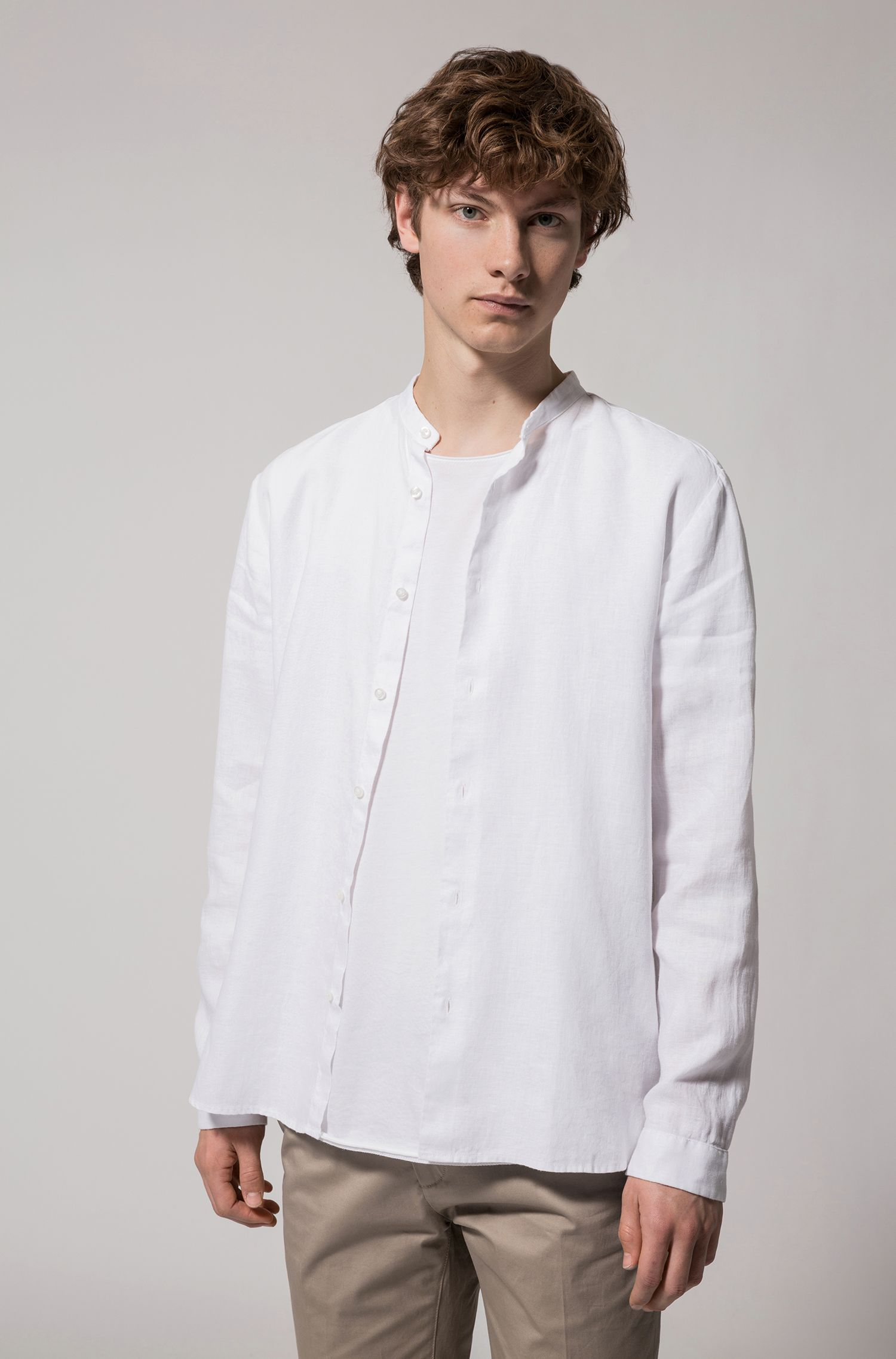 Linen shirt with stand collar
