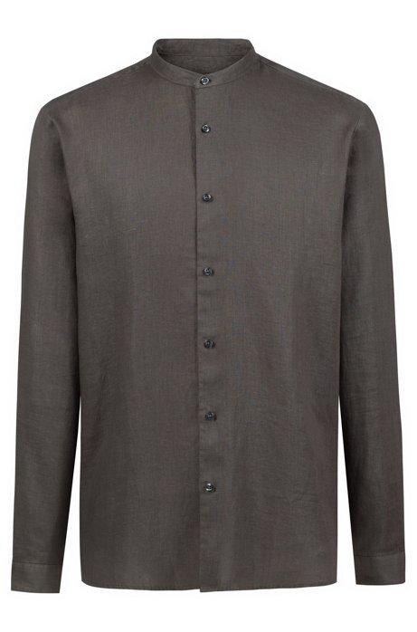 Overhemd van linnen met opstaande kraag, Bruin