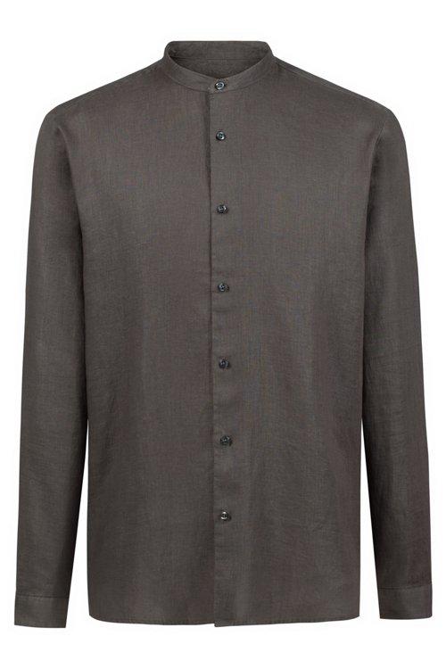 Hugo Boss - Relaxed-Fit Leinenhemd mit Stehkragen - 1