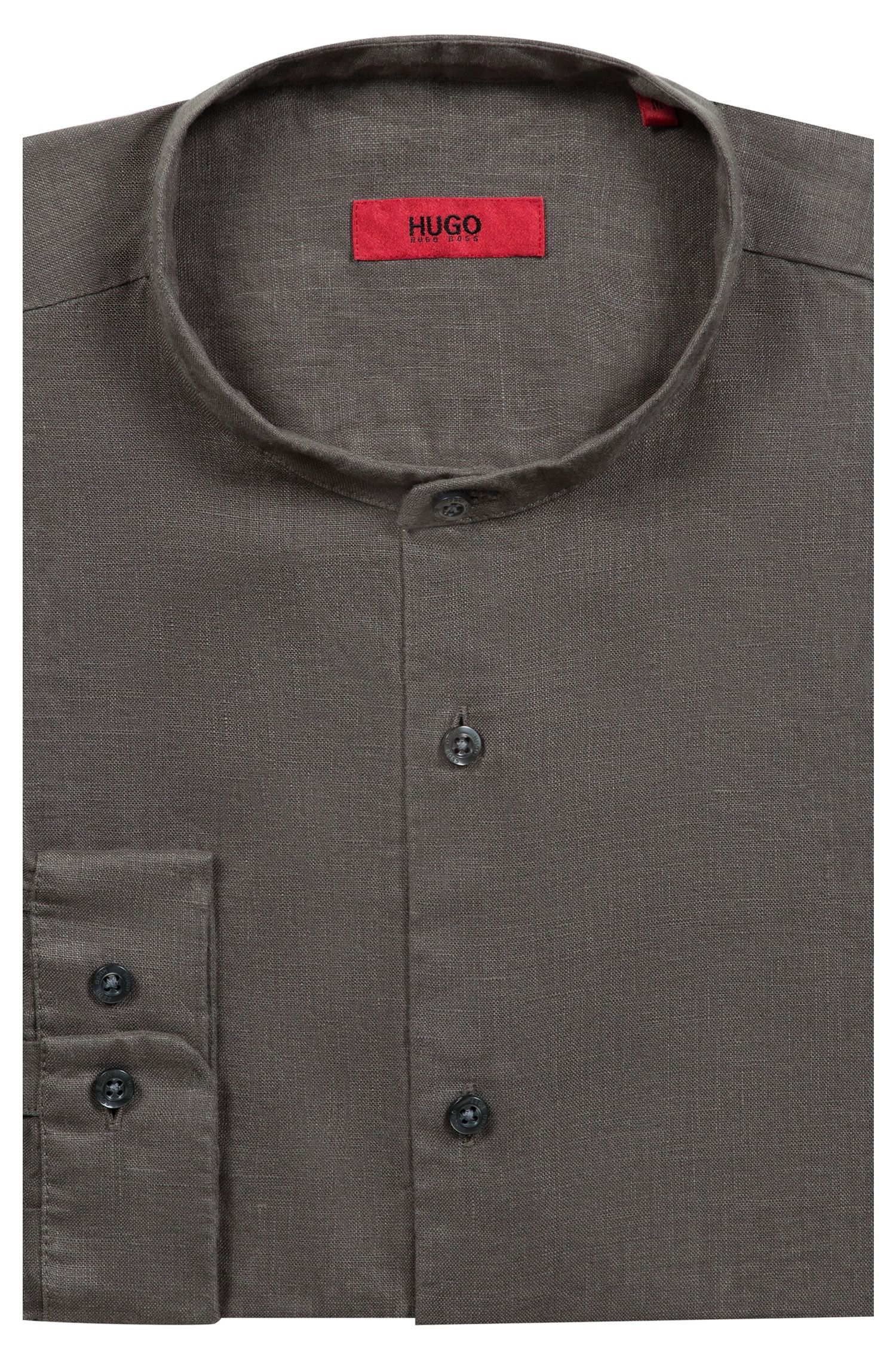 Linen shirt with stand collar, Brown
