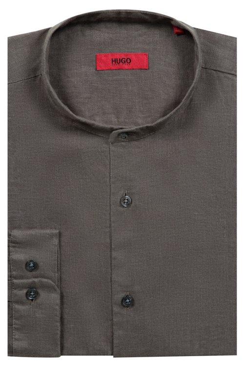 Hugo Boss - Relaxed-Fit Leinenhemd mit Stehkragen - 5