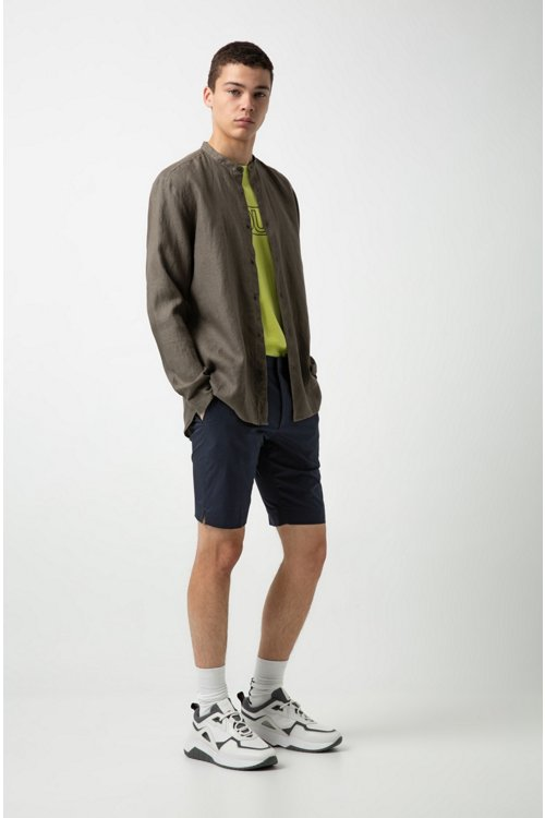 Hugo Boss - Relaxed-Fit Leinenhemd mit Stehkragen - 3