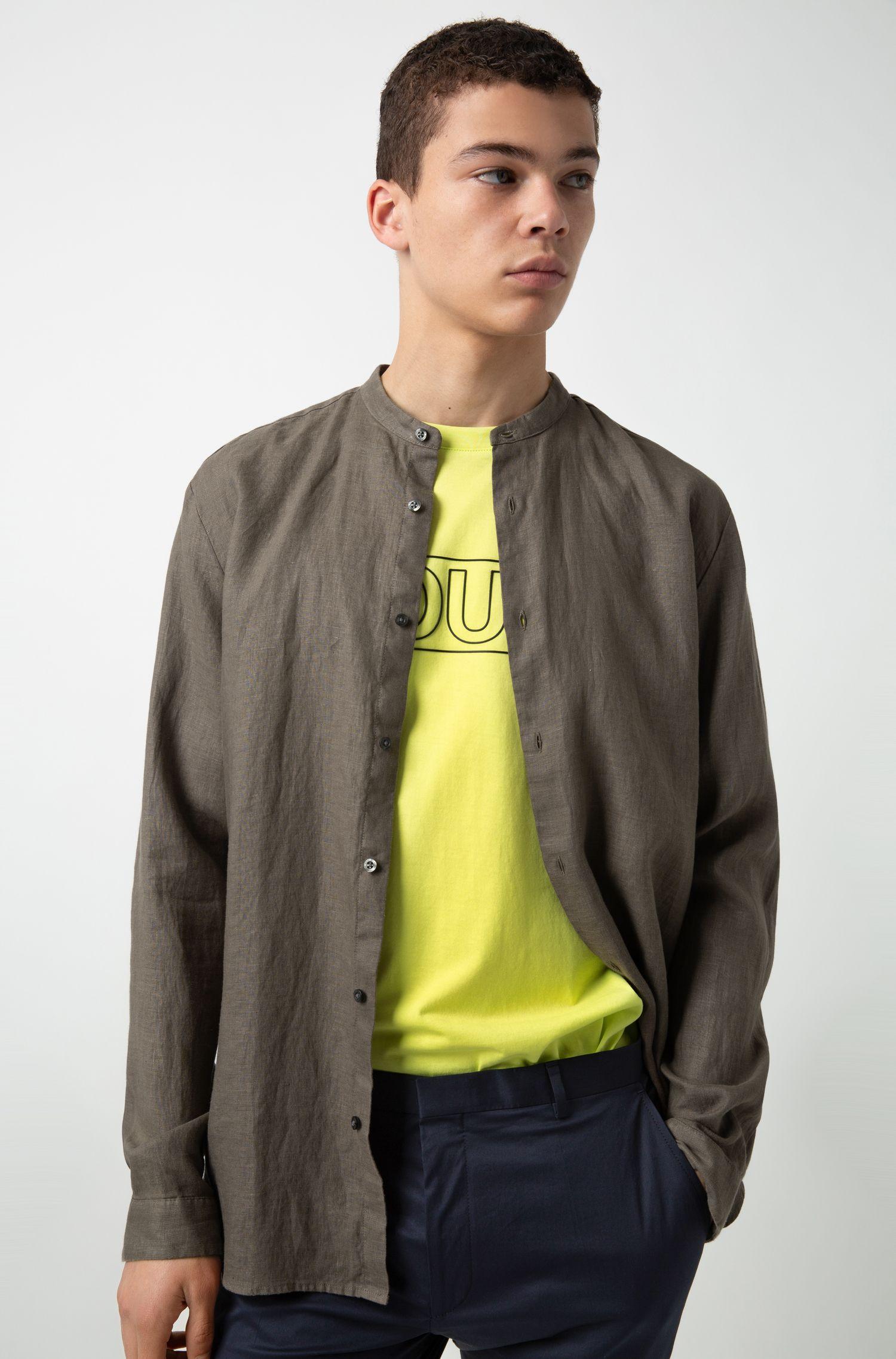 Camicia in lino con colletto rialzato, Marrone