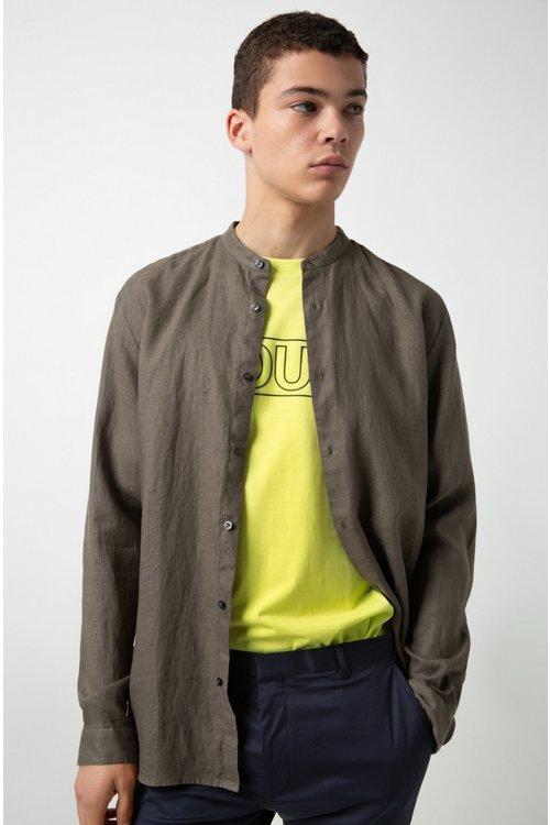 Hugo Boss - Relaxed-Fit Leinenhemd mit Stehkragen - 2