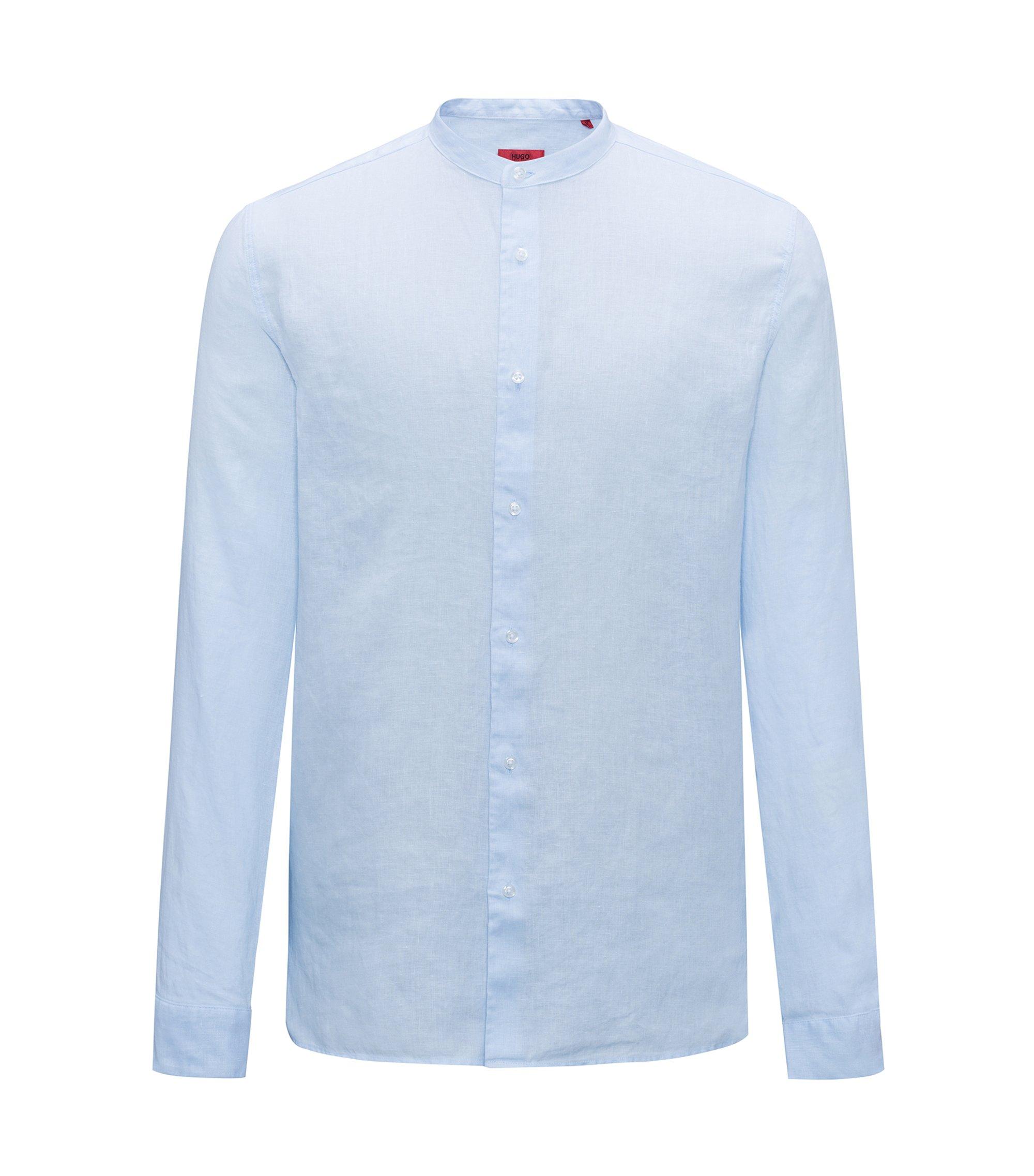 Chemise en lin à col mao, Bleu vif