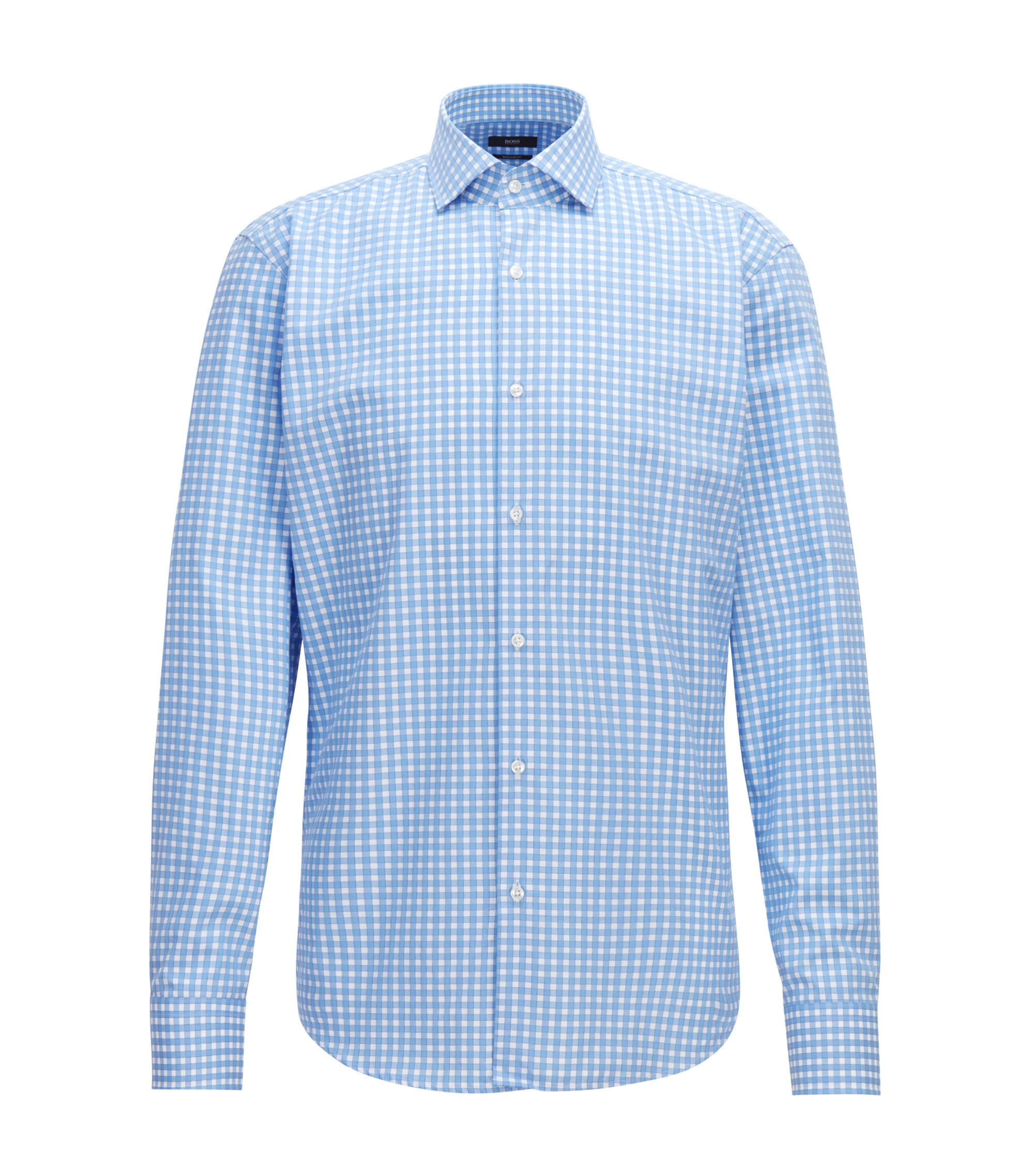 Regular-fit cotton shirt with dobby Vichy check, Blue