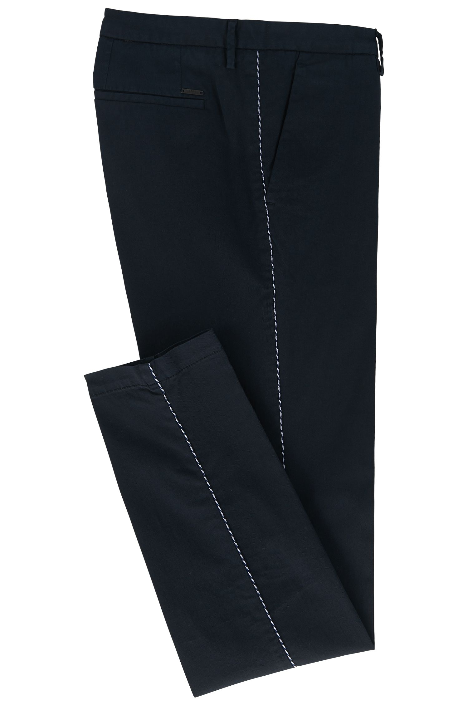 Slim-fit chino in een gabardine van stretchkatoen , Donkerblauw