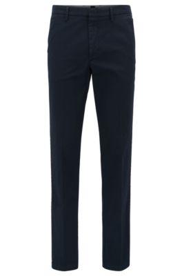 Chino slim fit in gabardine di cotone elasticizzato , Blu scuro