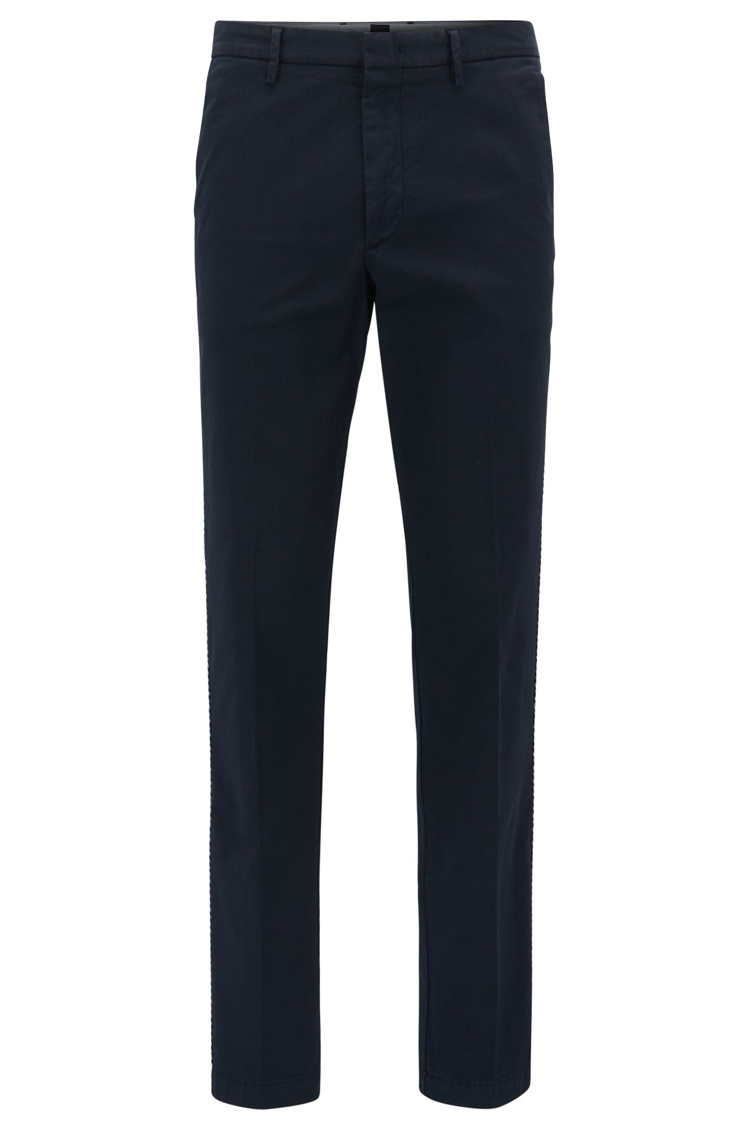 Chino Slim Fit en gabardine de coton stretch , Bleu foncé