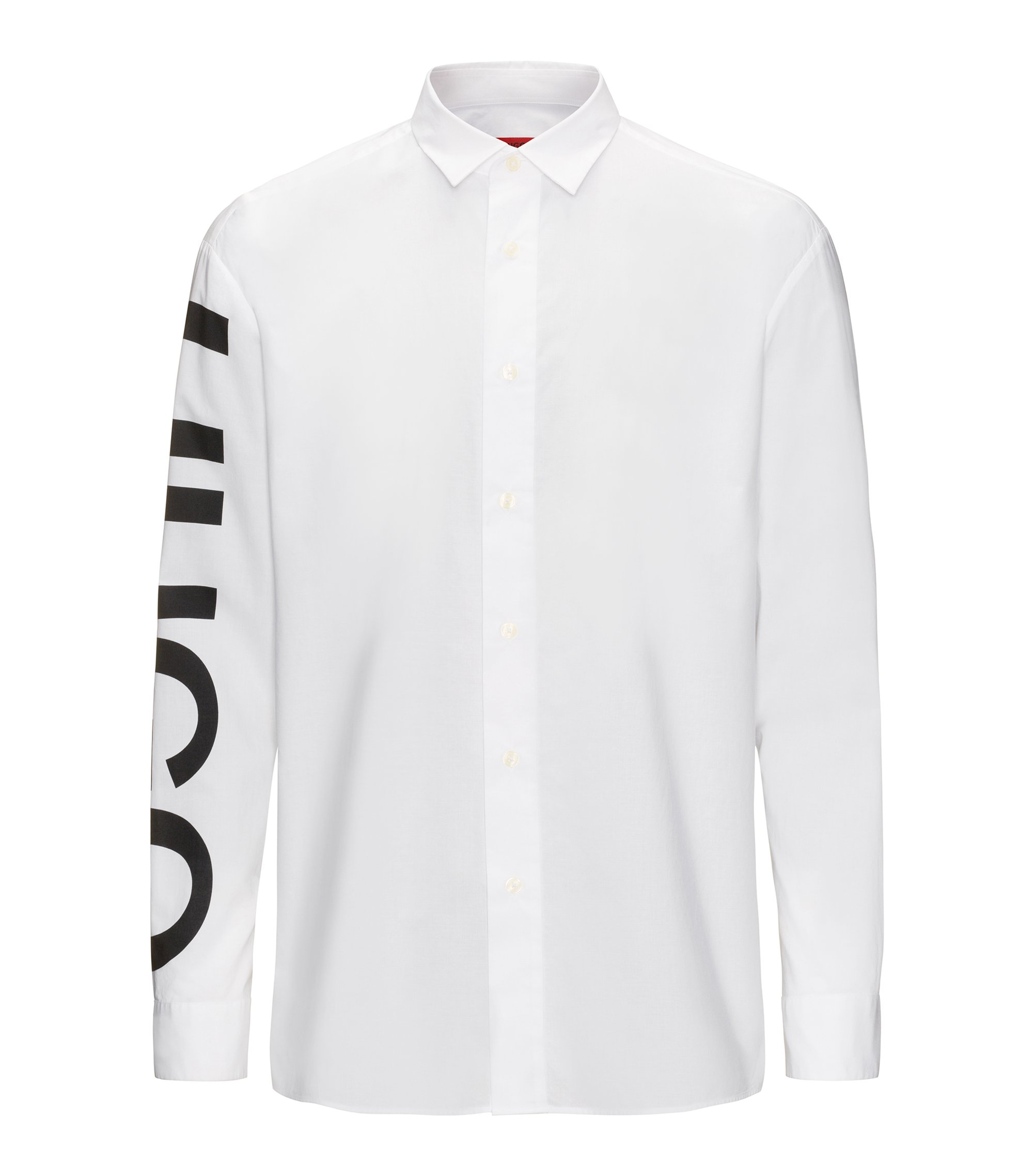 Relaxed-fit cotton shirt with logo-print sleeve , White