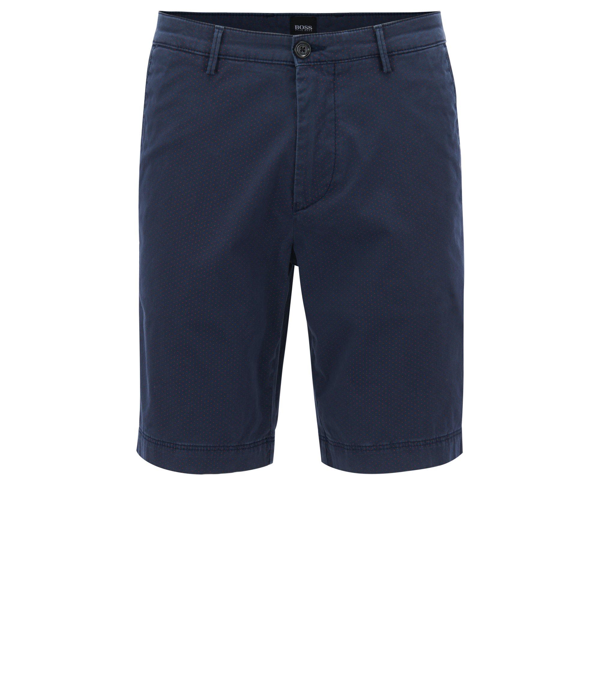 Bedruckte Shorts aus elastischer Pima-Baumwolle, Dunkelblau