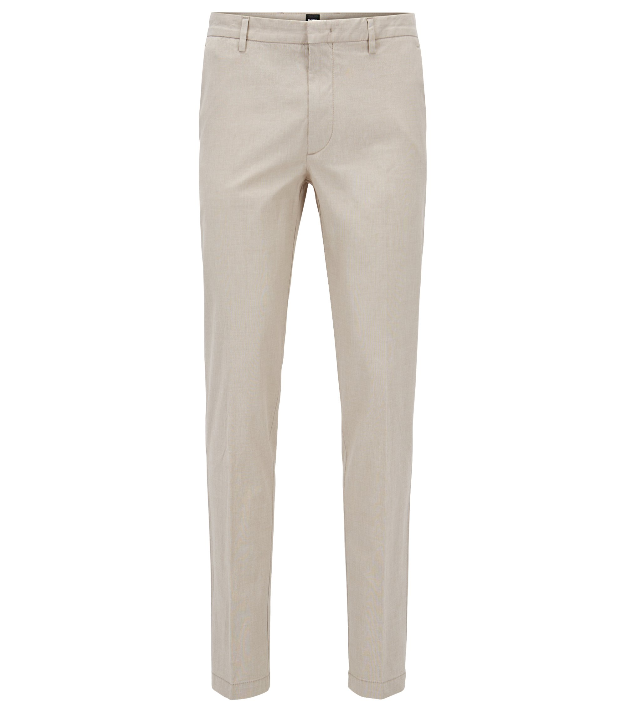 Slim-fit chinos in Italian stretch cotton, Beige
