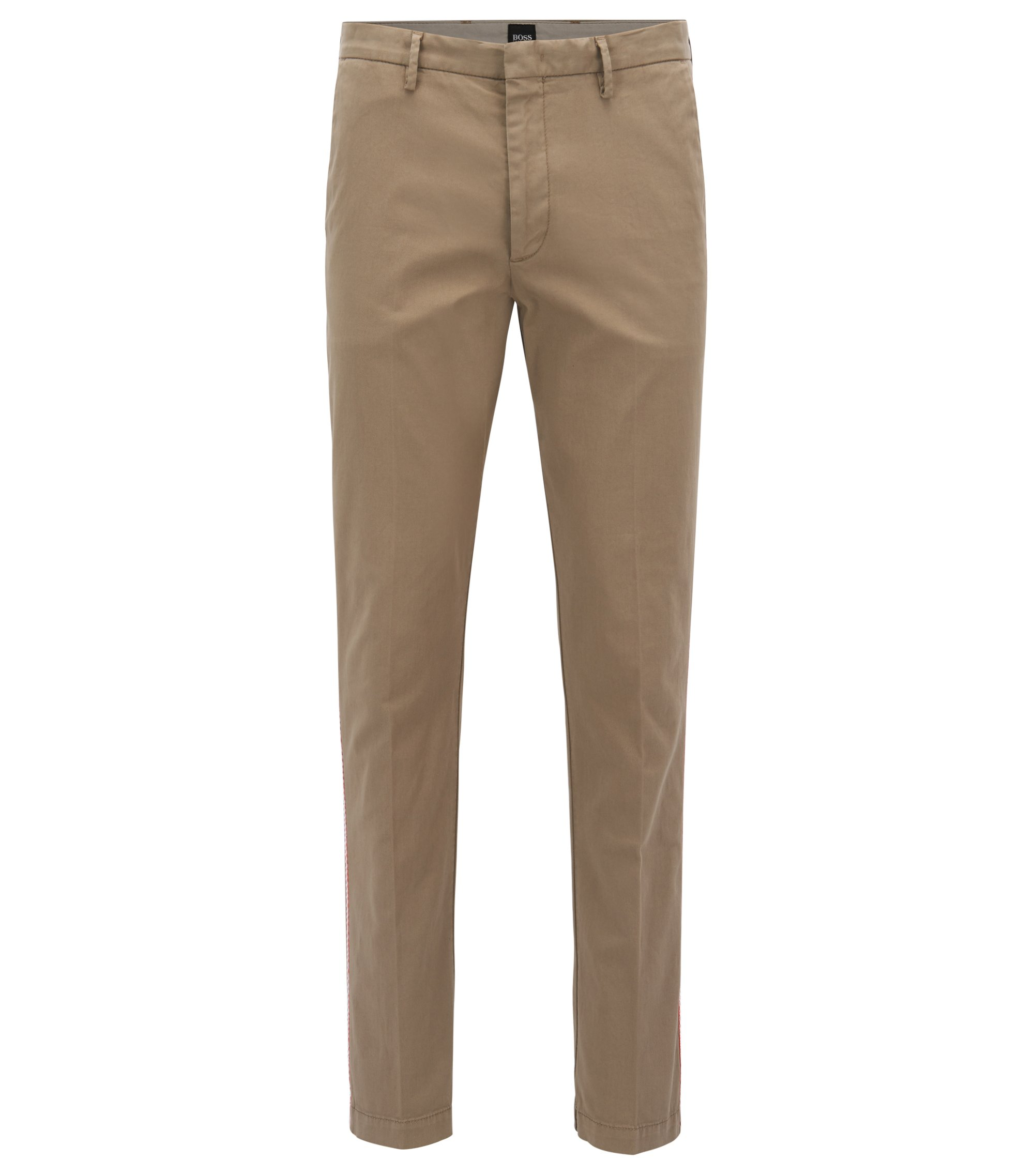Slim-fit chinos in stretch cotton gabardine, Light Brown