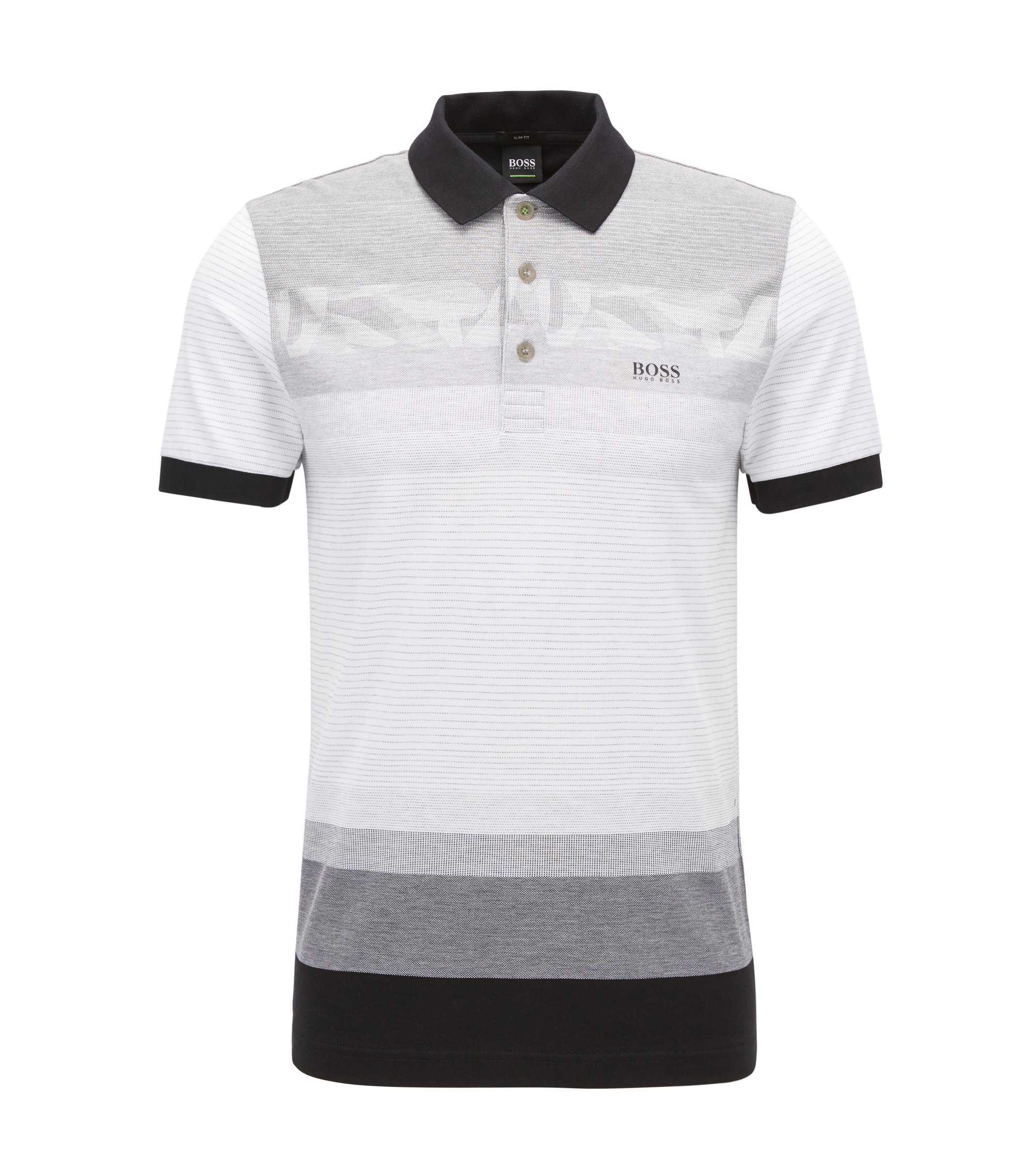 Slim-fit patterned polo shirt in cotton piqué, Light Grey