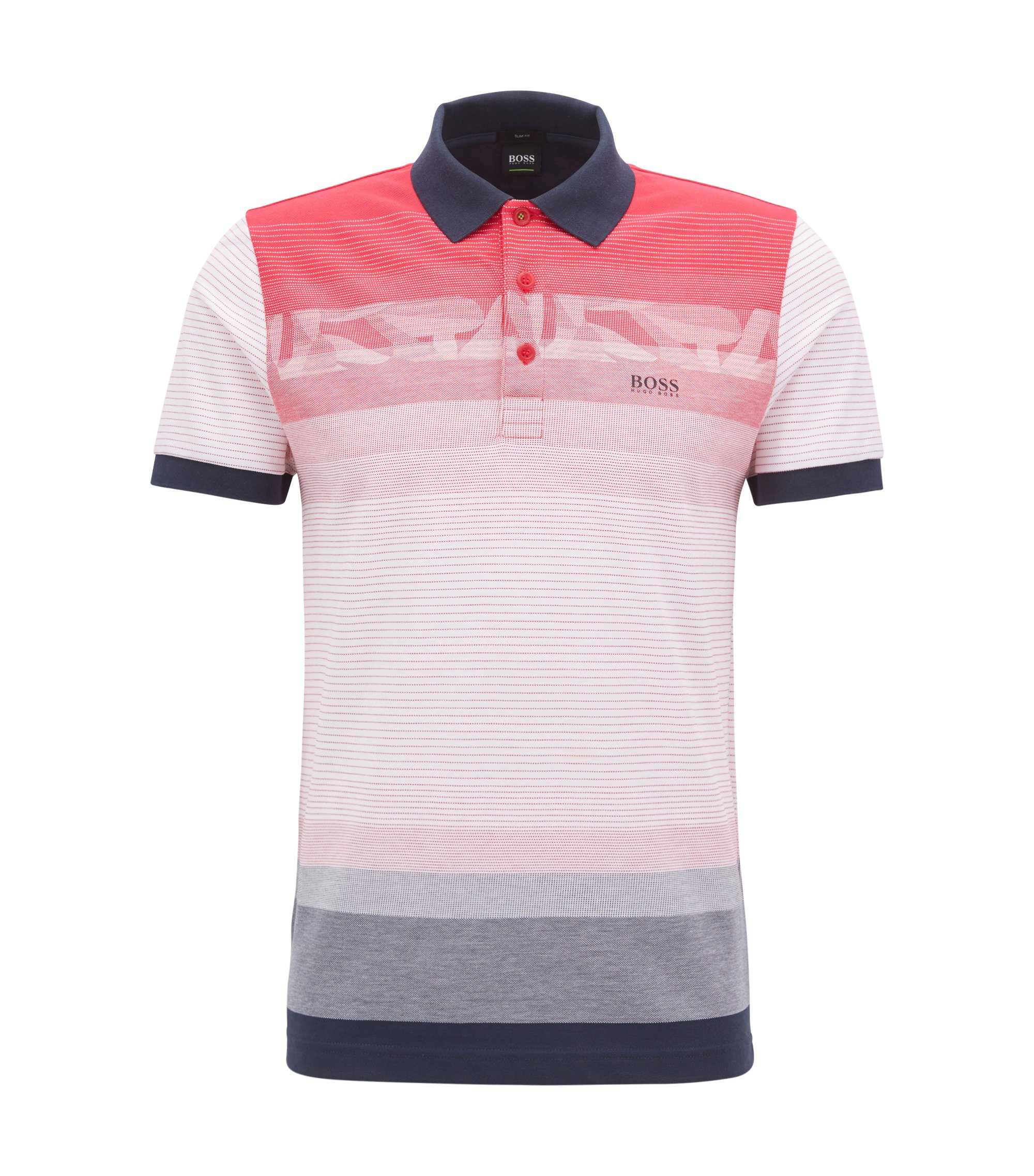 Polo Slim Fit à motif en piqué de coton, Rose