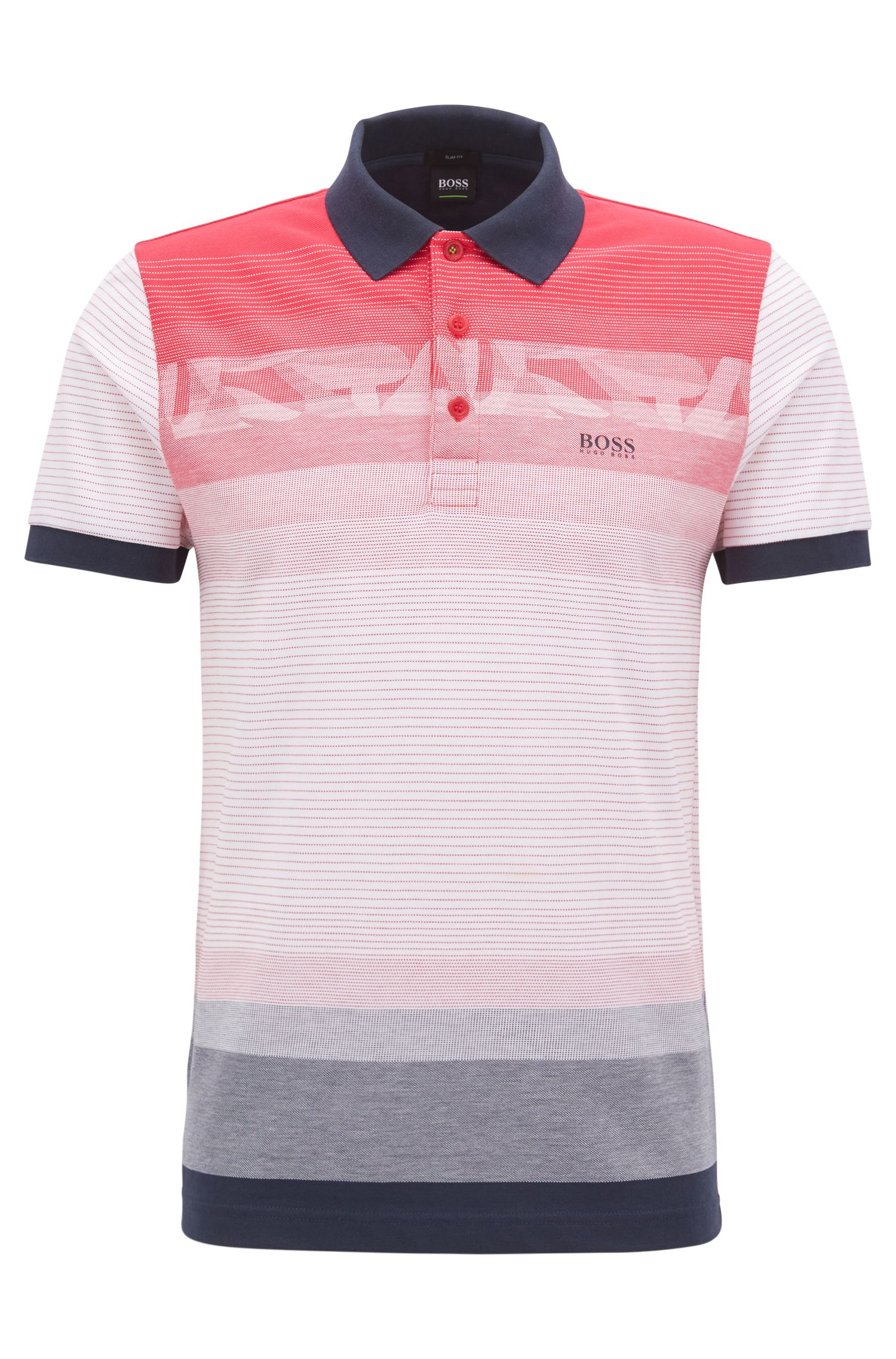 Slim-fit patterned polo shirt in cotton piqué