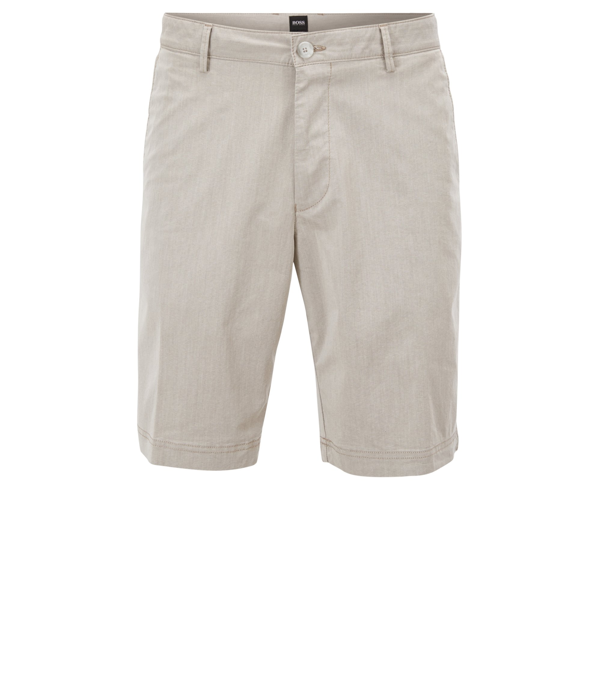 Regular-fit short van een Italiaanse katoenmix, Naturel