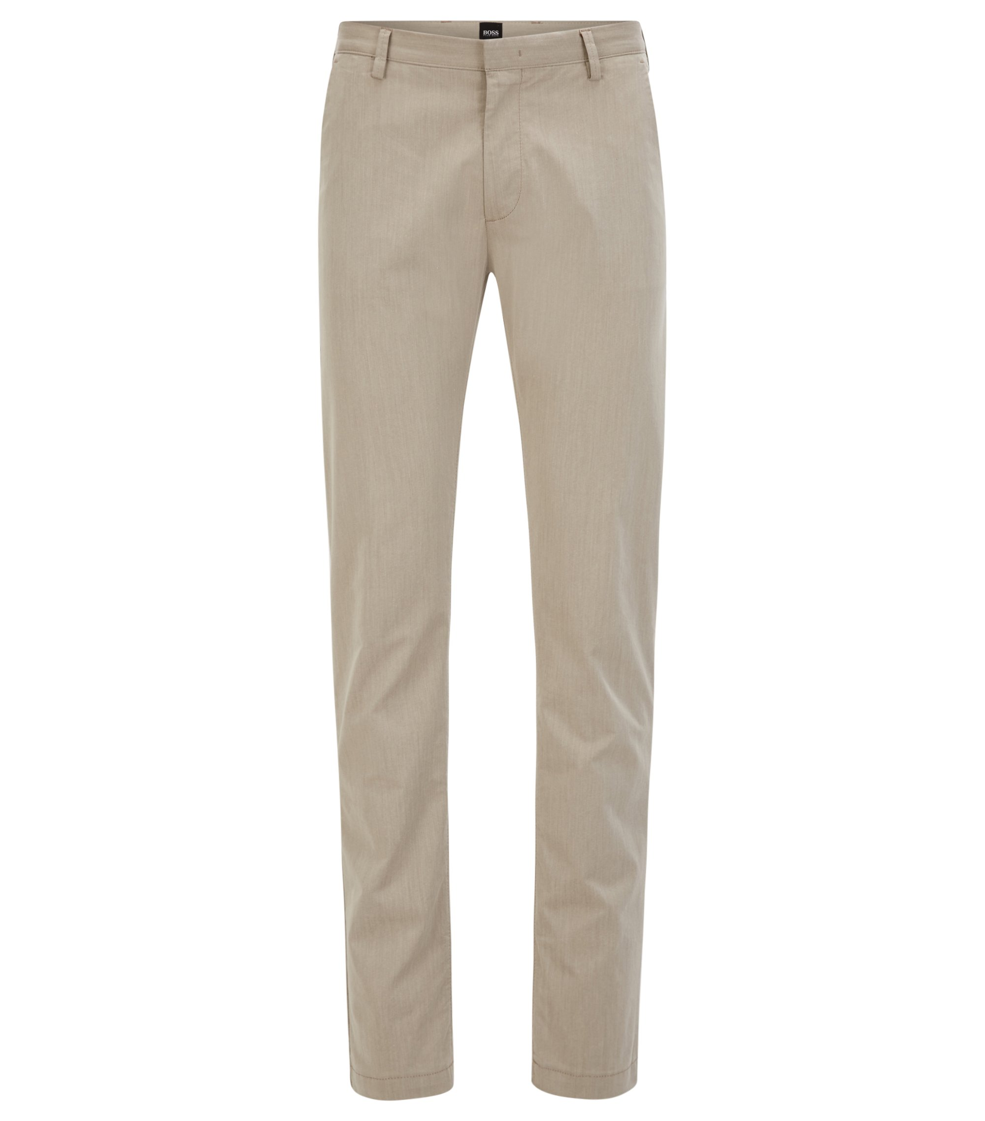 Slim-fit chinos in Italian stretch cotton, Natural