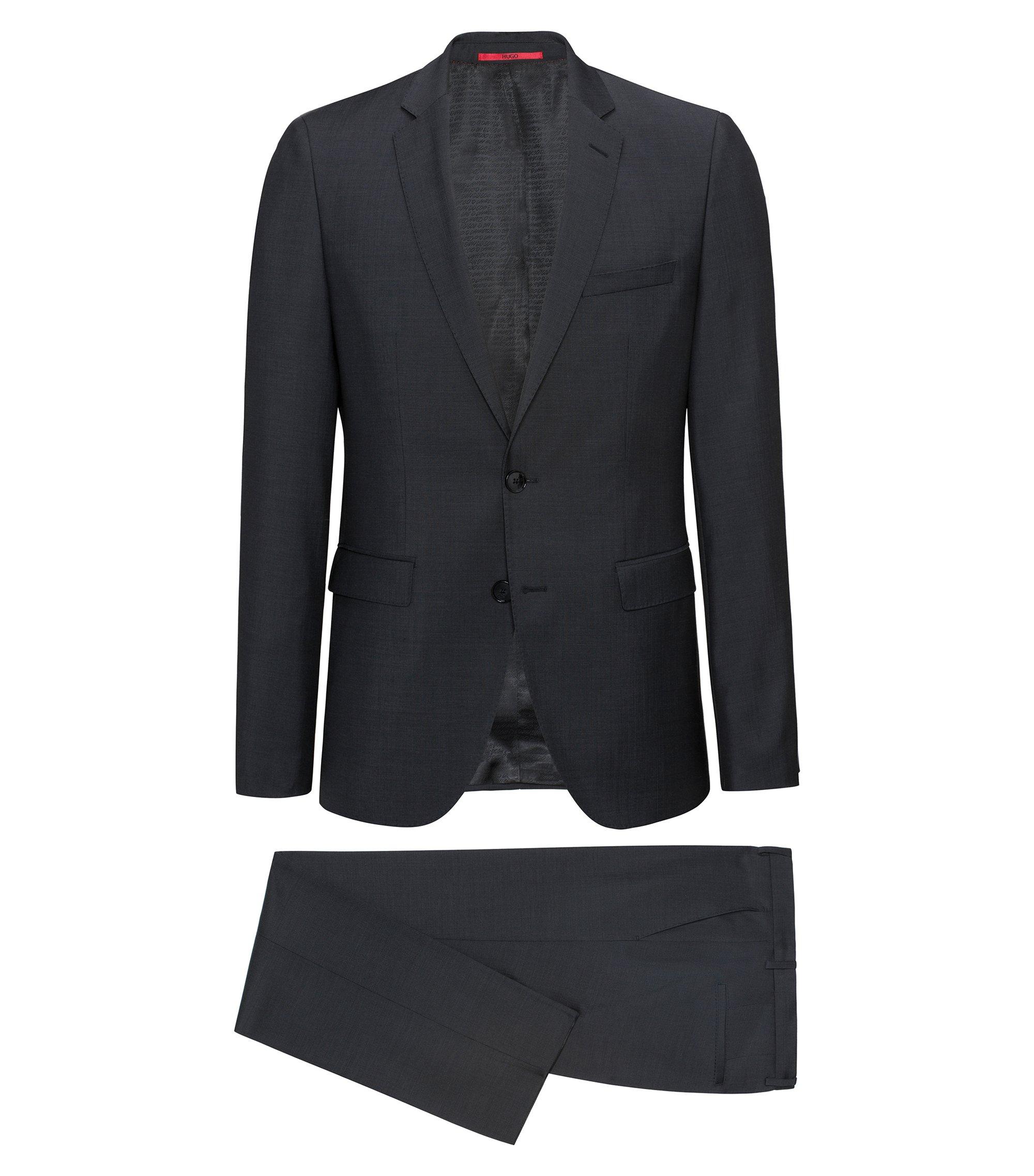 Regular-fit kostuum van geverfd scheerwolgaren, Zwart