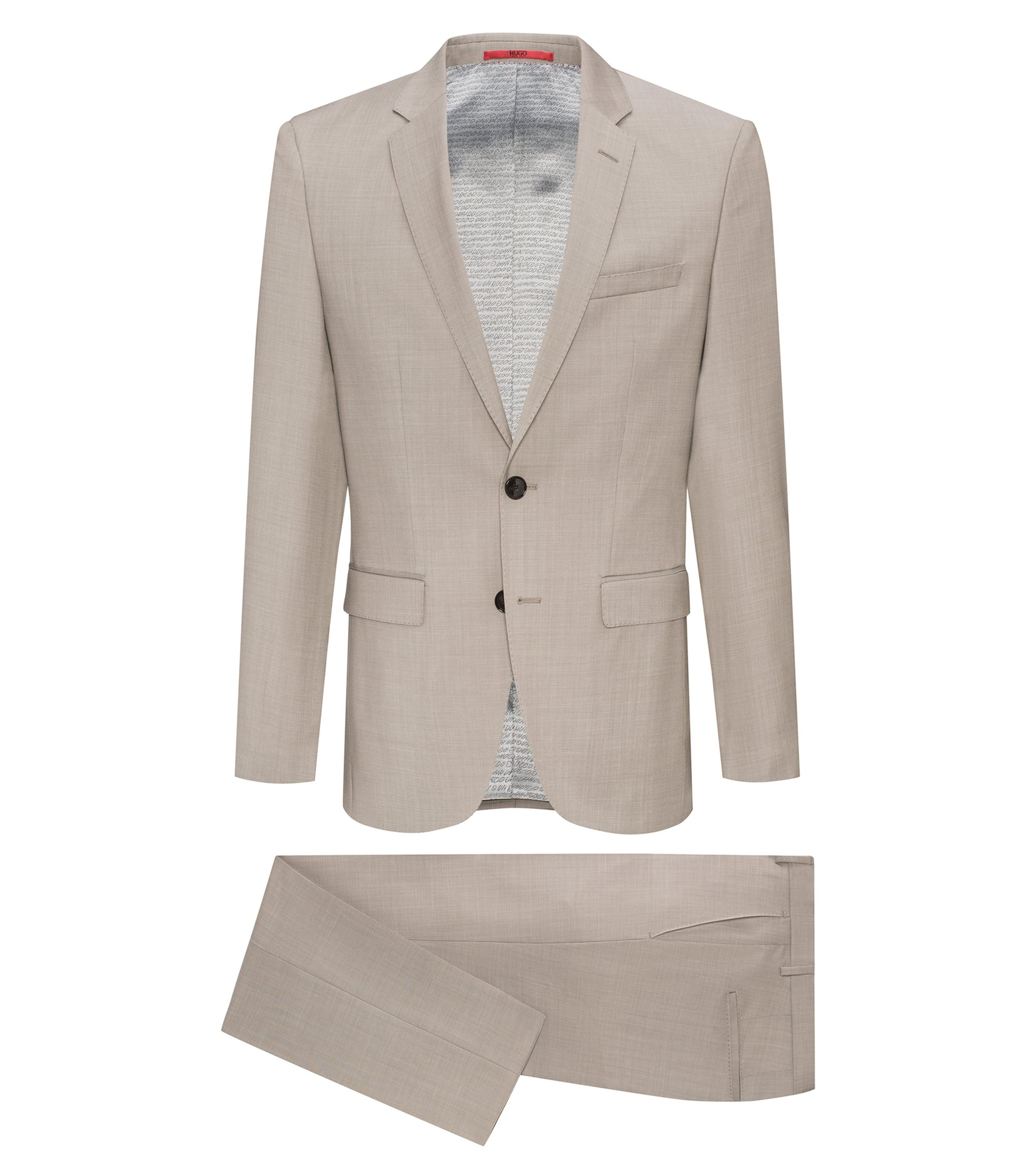 Regular-fit suit in yarn-dyed virgin wool, Beige
