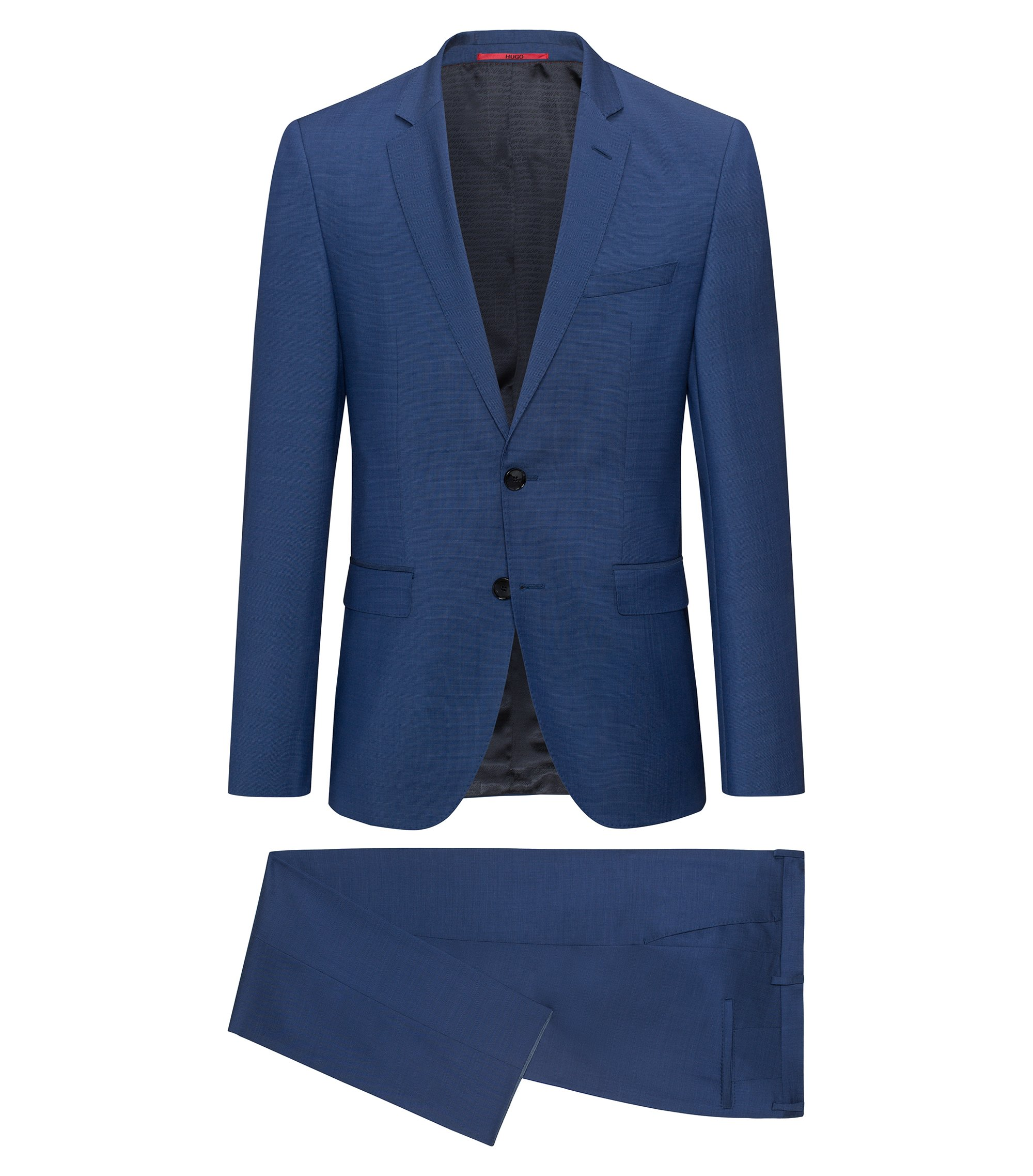 Regular-fit suit in yarn-dyed virgin wool, Blue