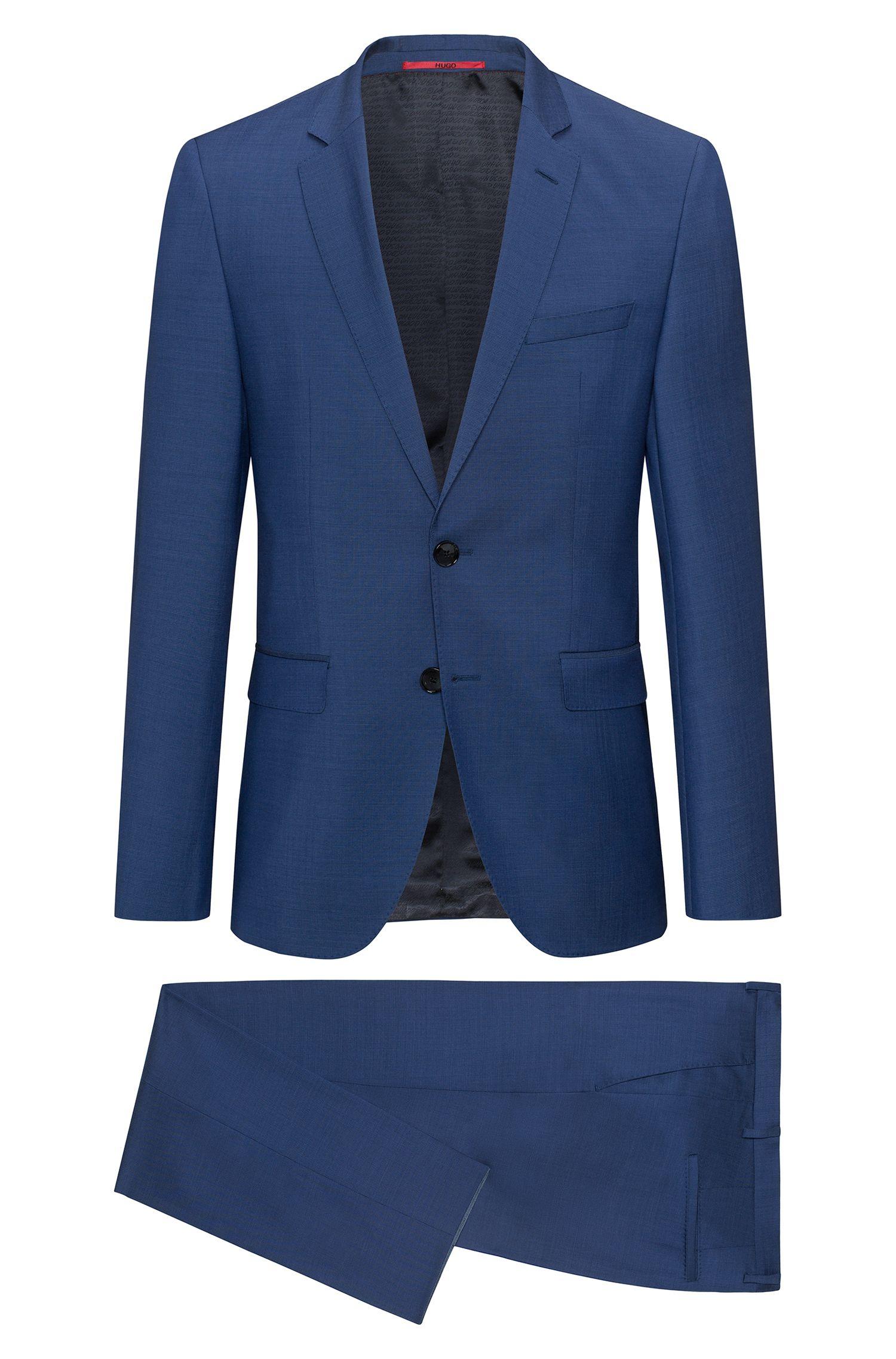 Regular-fit suit in yarn-dyed virgin wool