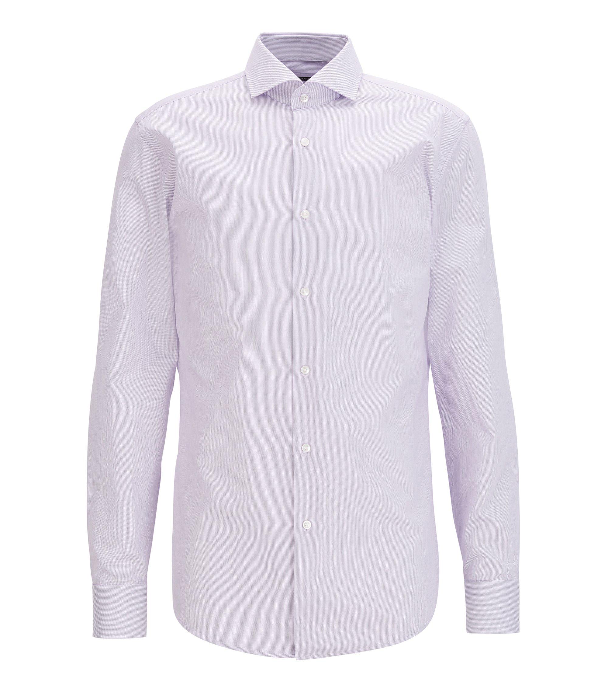 Slim-fit shirt in fine striped cotton, Purple