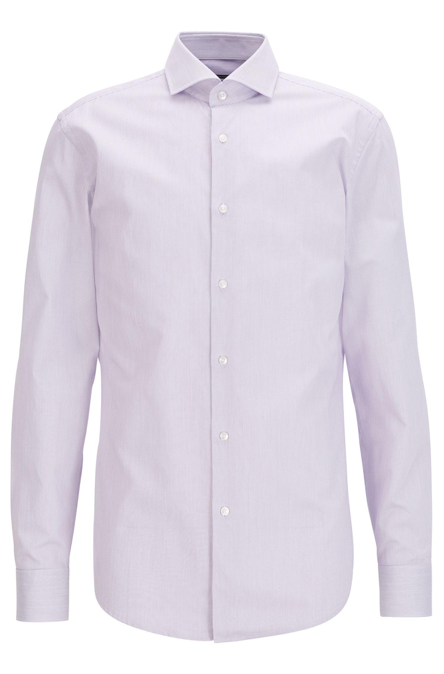 Slim-fit shirt in fine striped cotton