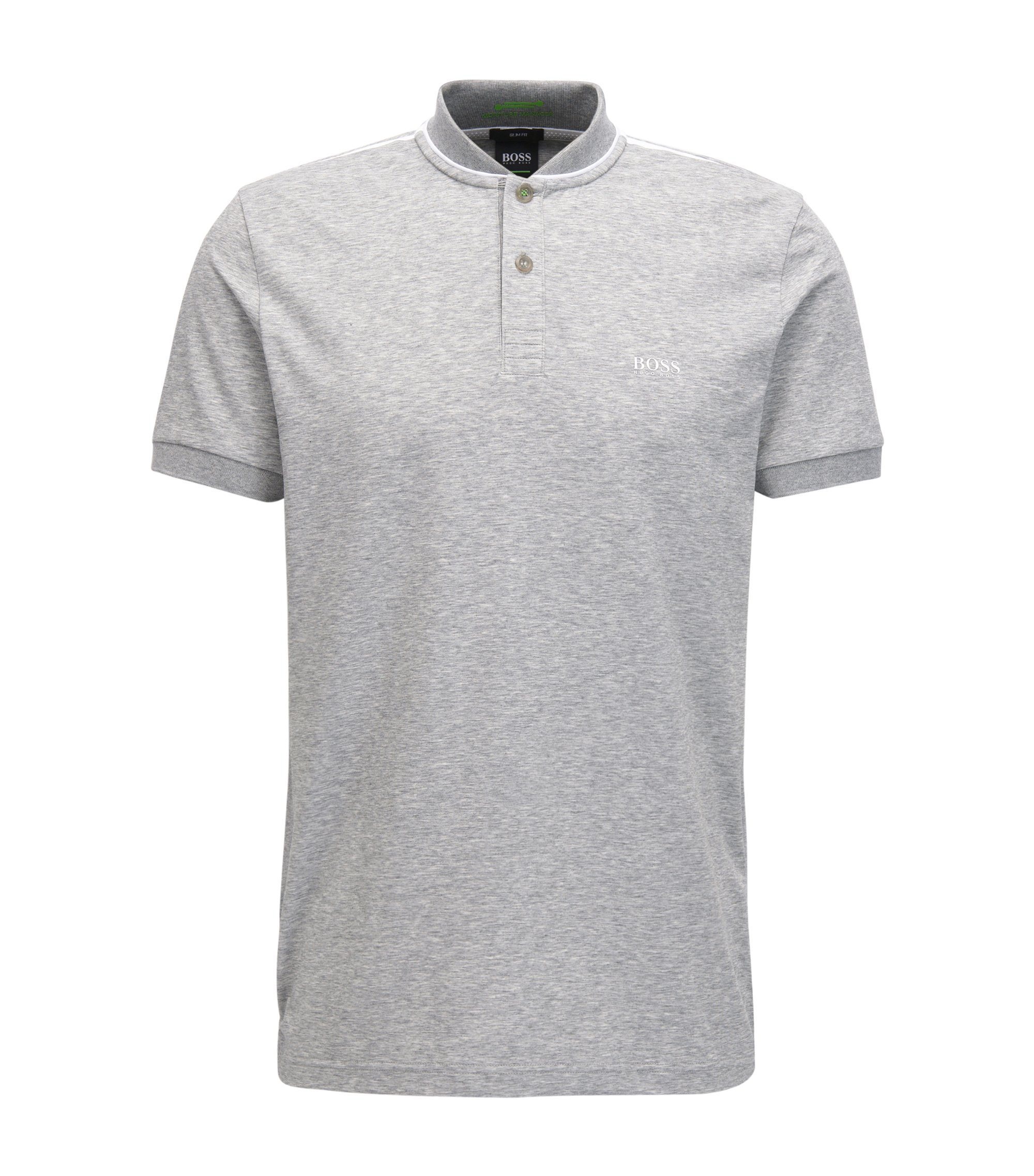 Slim-fit cotton-blend polo shirt with bomber collar, Light Grey