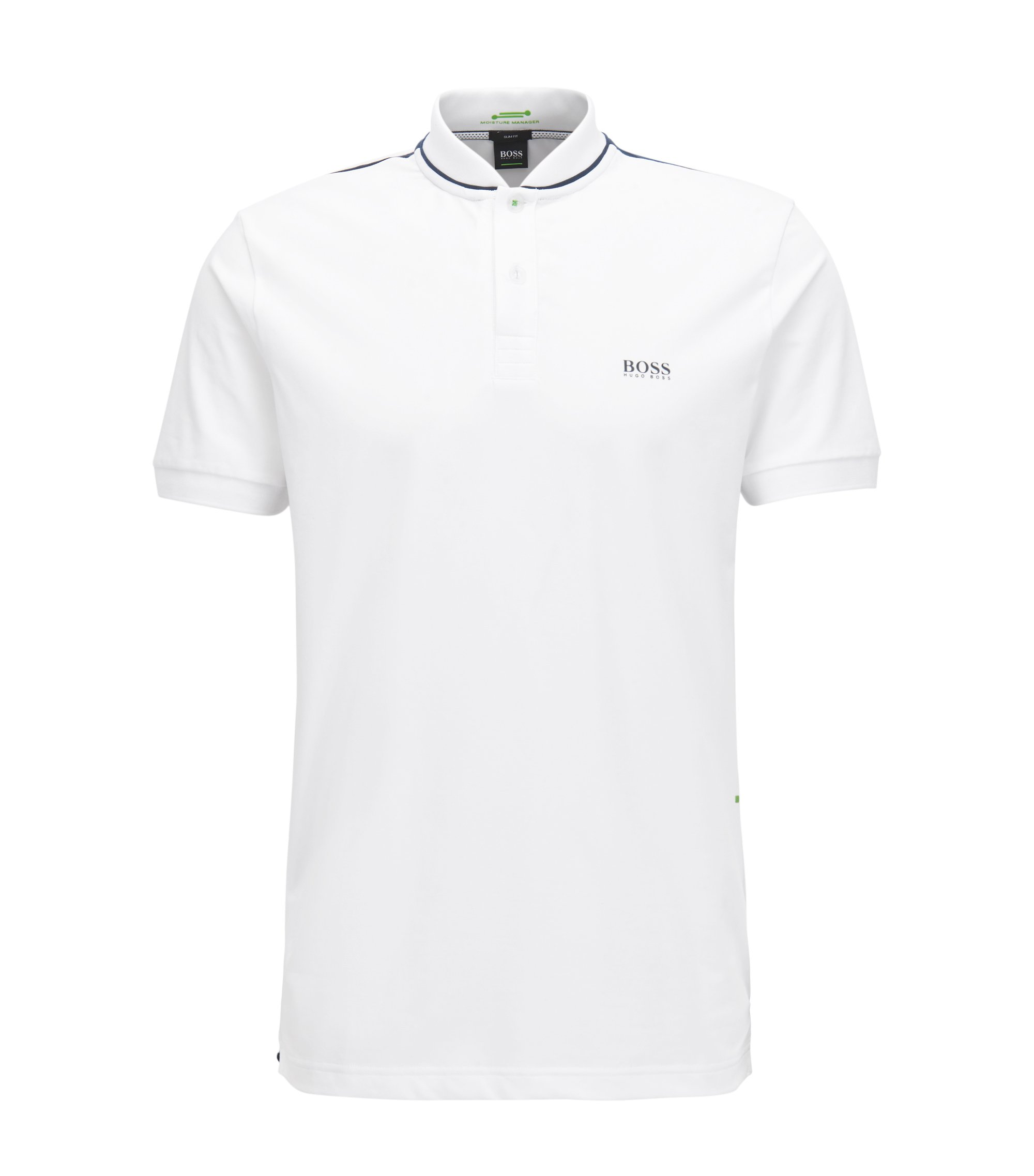 Slim-fit cotton-blend polo shirt with bomber collar, White