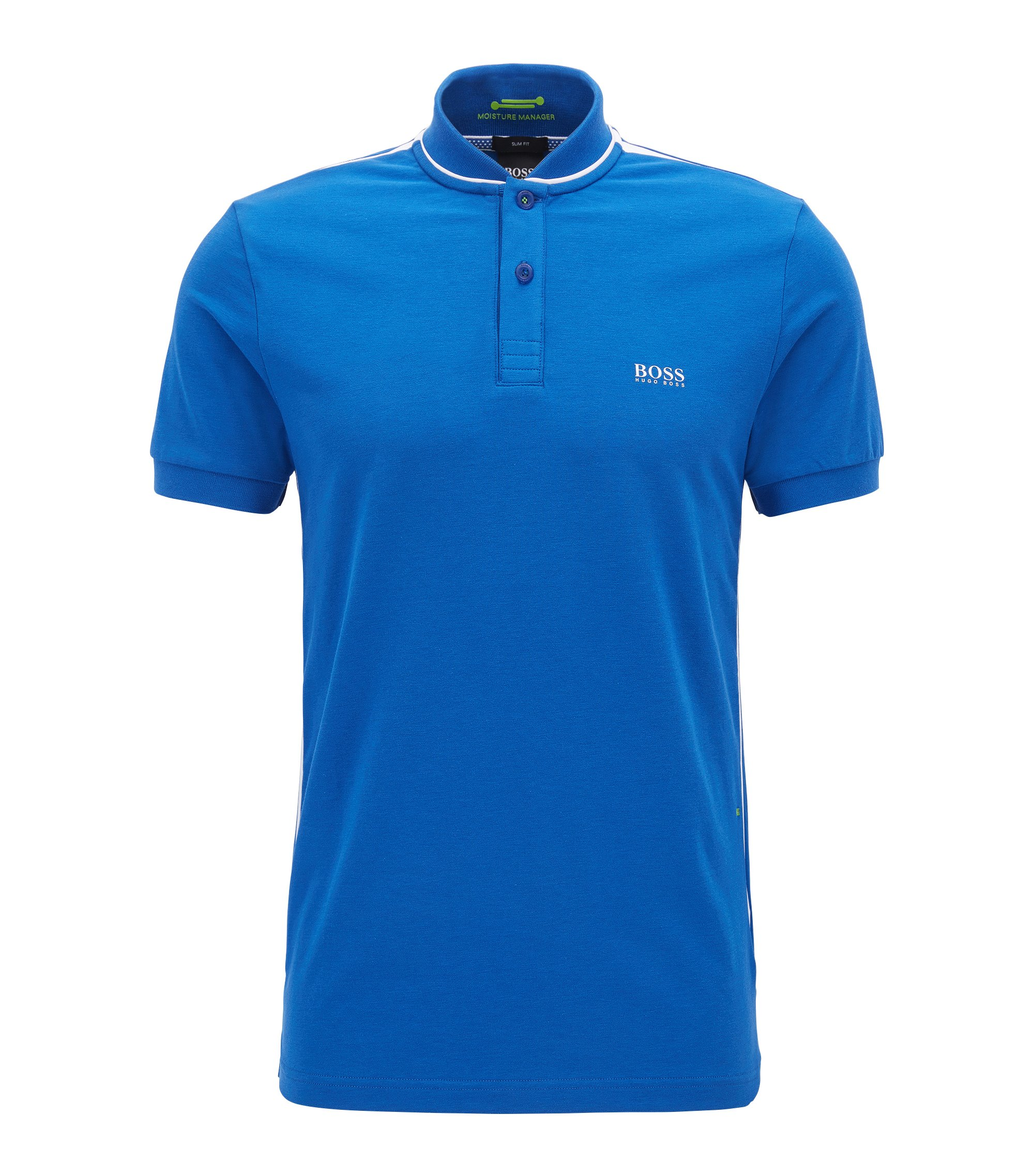 Slim-fit cotton-blend polo shirt with bomber collar, Blue