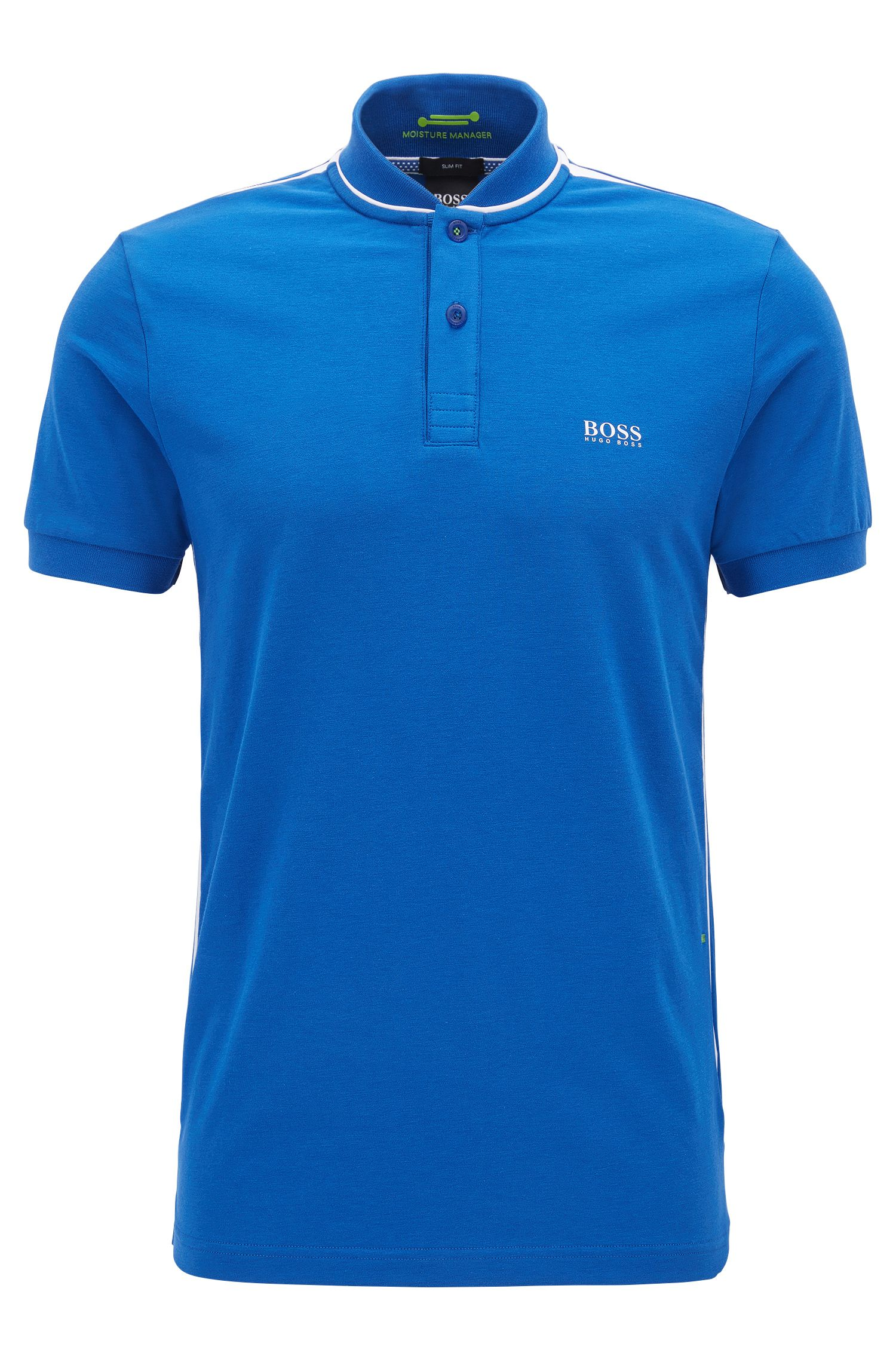 Slim-fit cotton-blend polo shirt with bomber collar