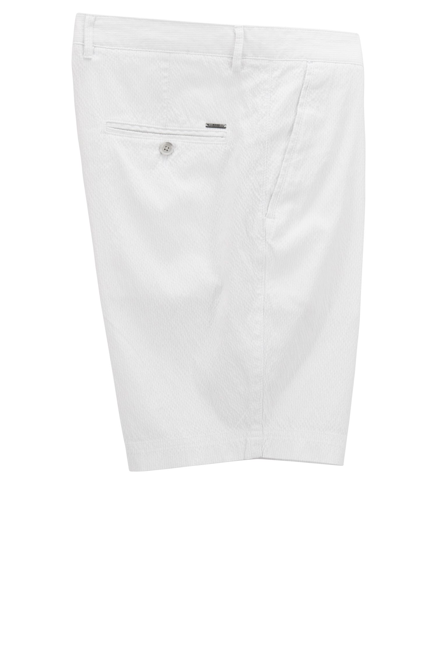 Pantaloncini regular fit in cotone seersucker elasticizzato