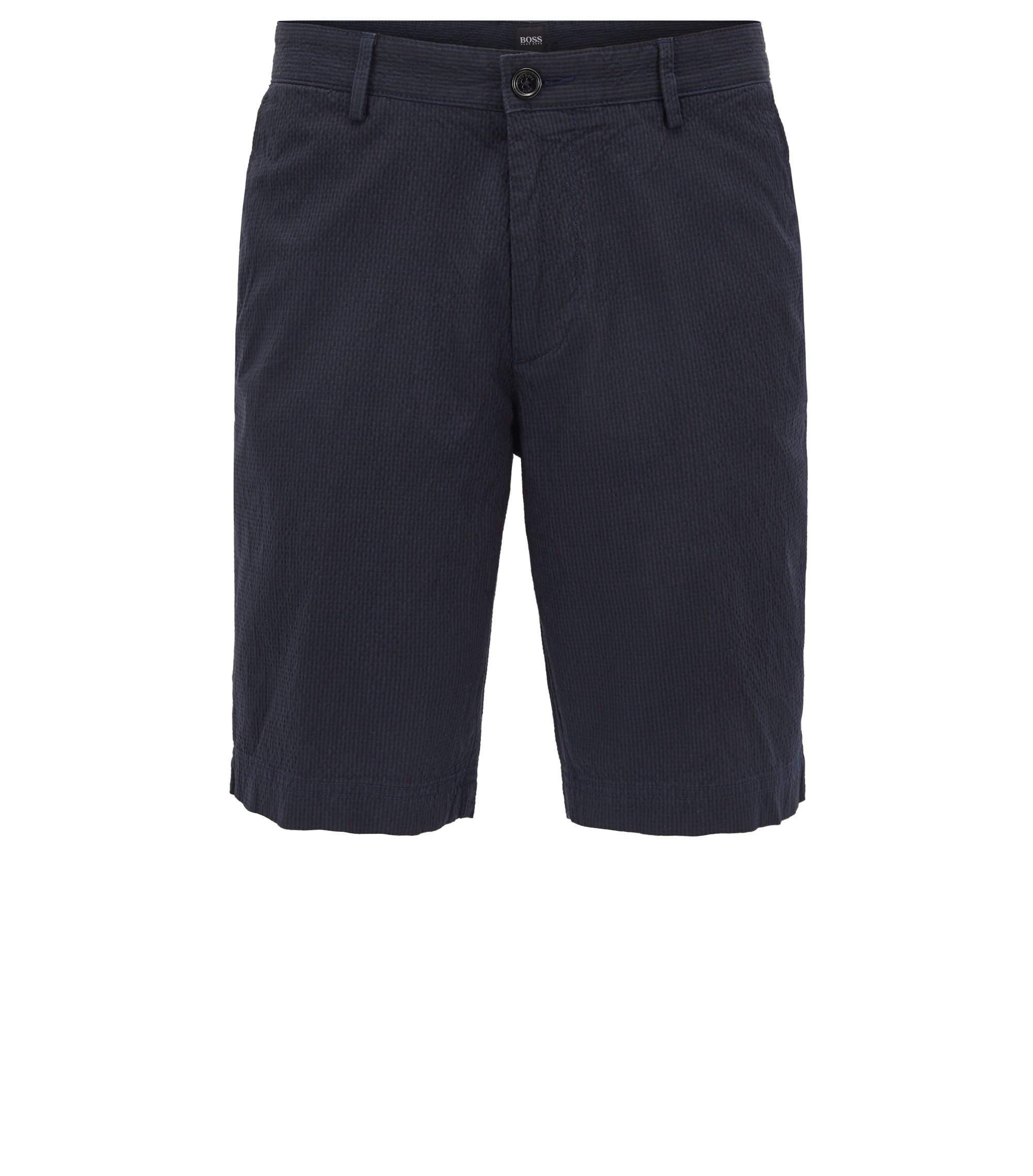 Regular-fit short in seersucker van stretchkatoen , Donkerblauw