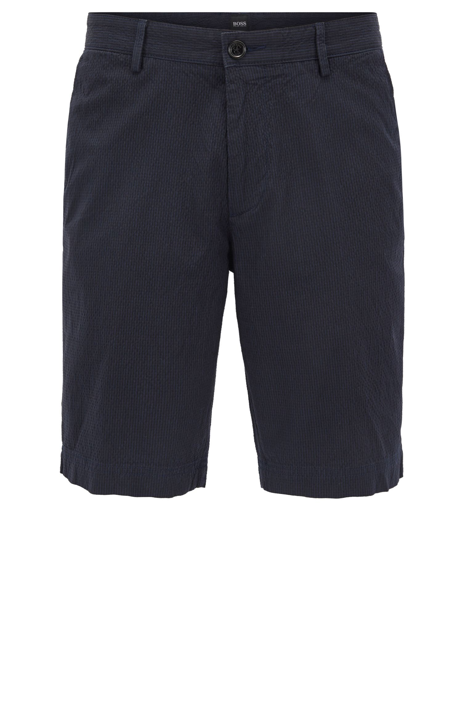 Shorts regular fit en sirsaca de algodón elástico