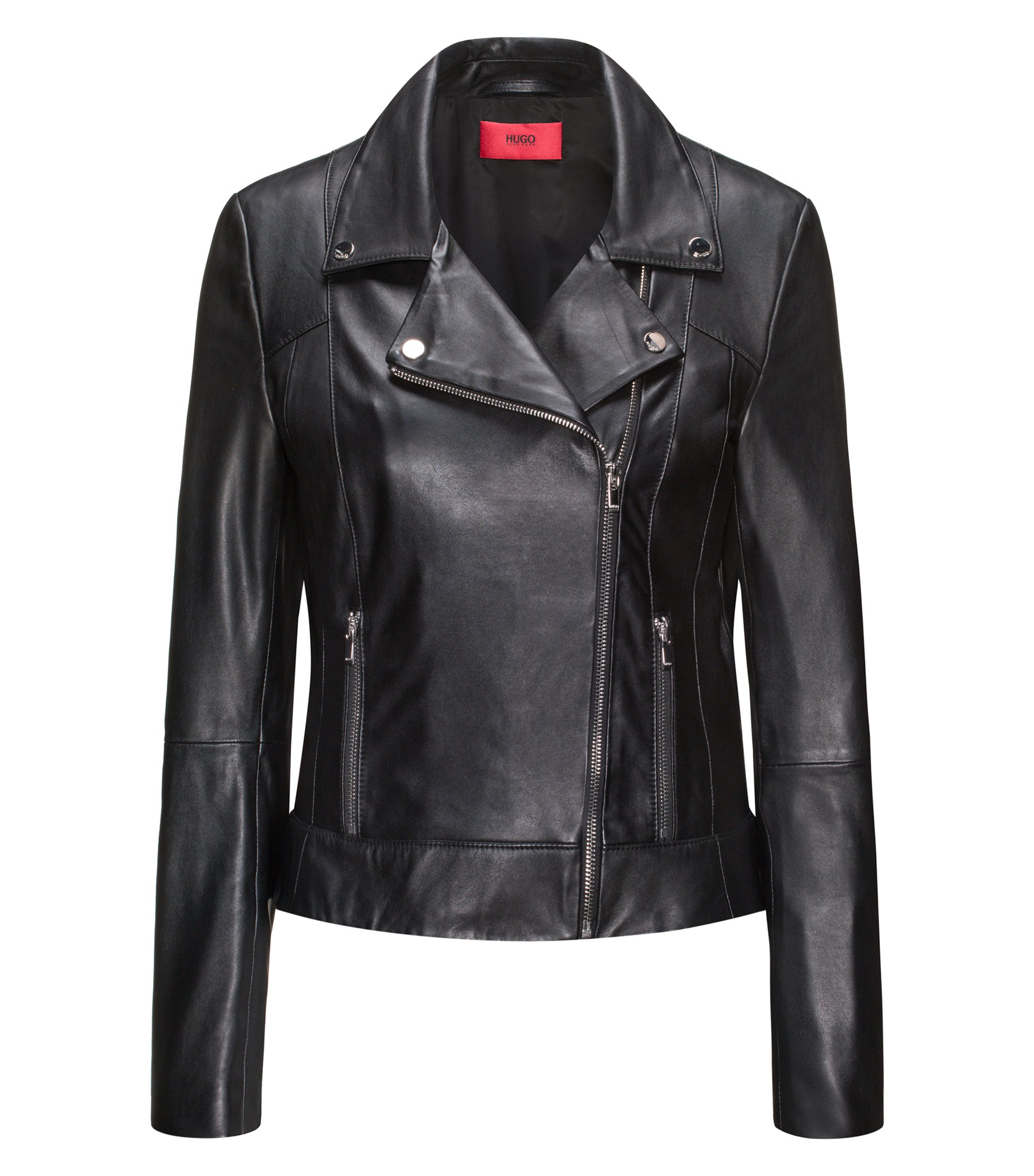 Leather biker jacket with smocked side panels, Black