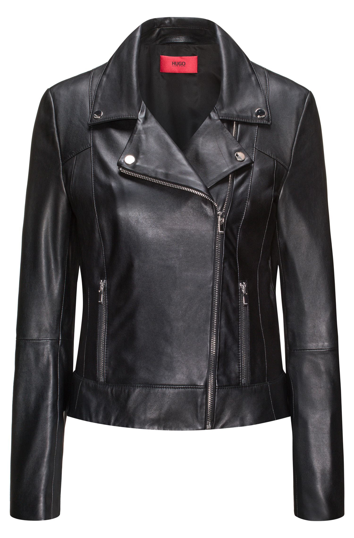 Leather biker jacket with smocked side panels