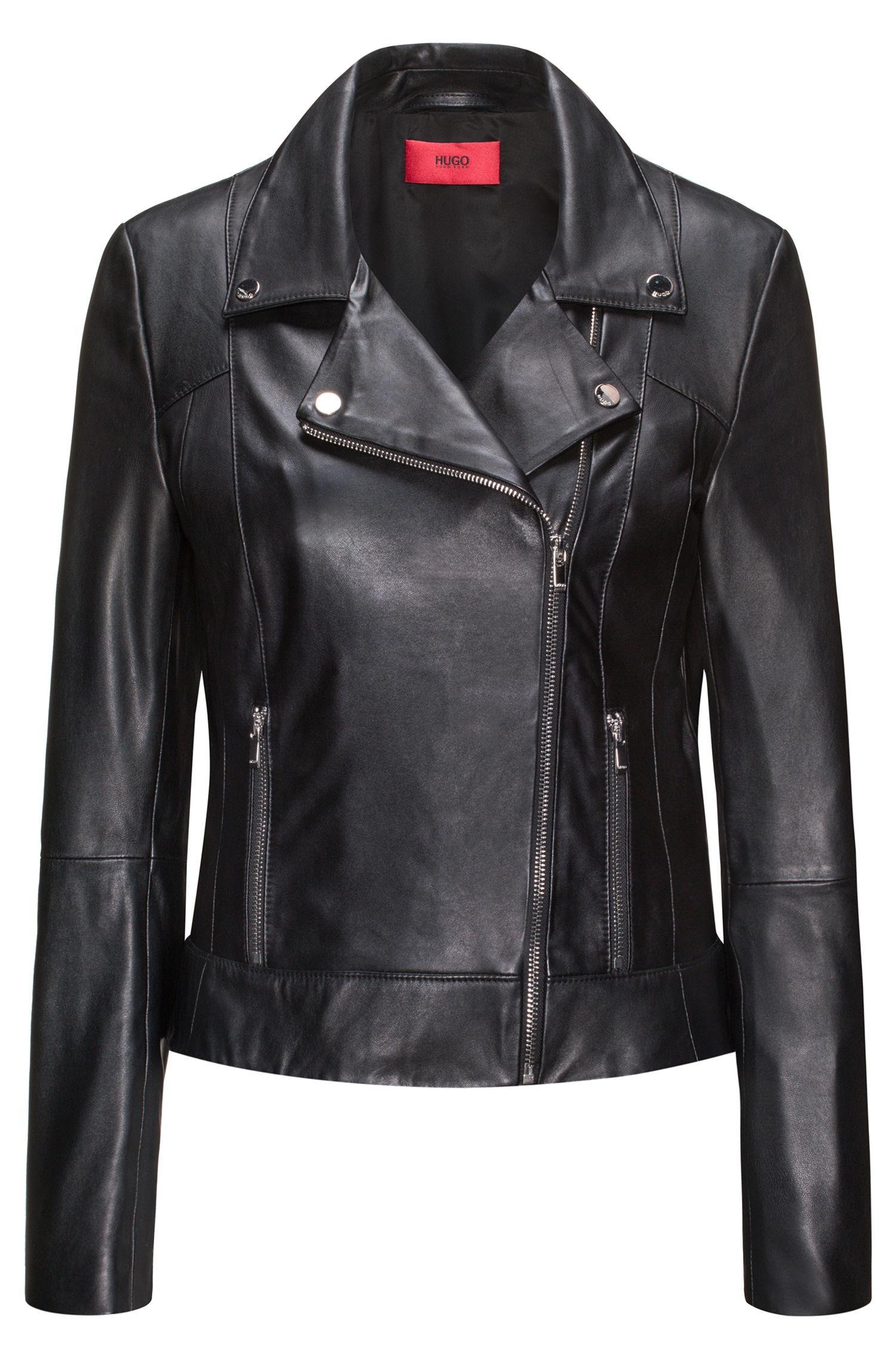 Leather biker jacket with smocked side panels