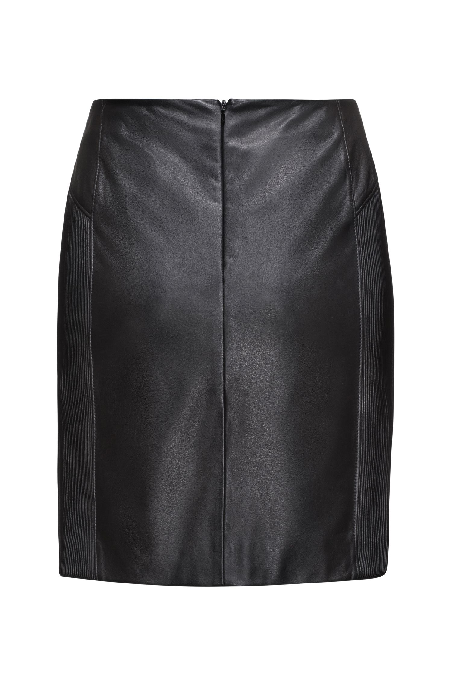 Smock-detail pencil skirt in nappa leather