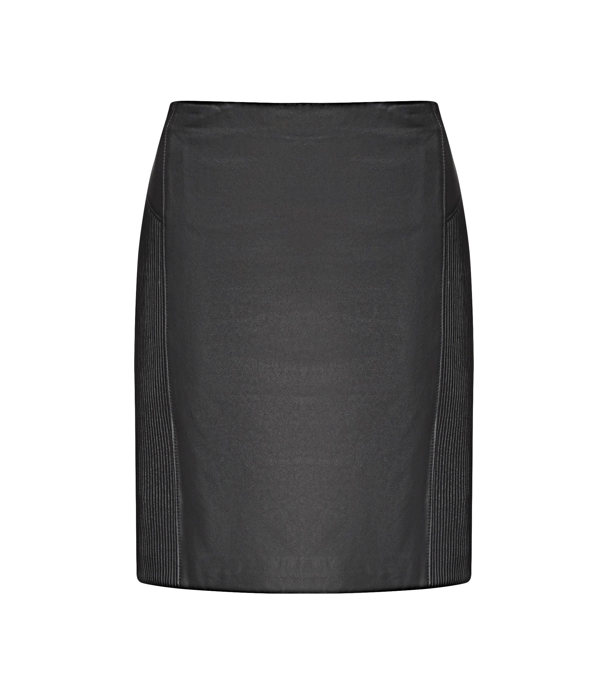 Falda lápiz plisada en piel de napa, Negro